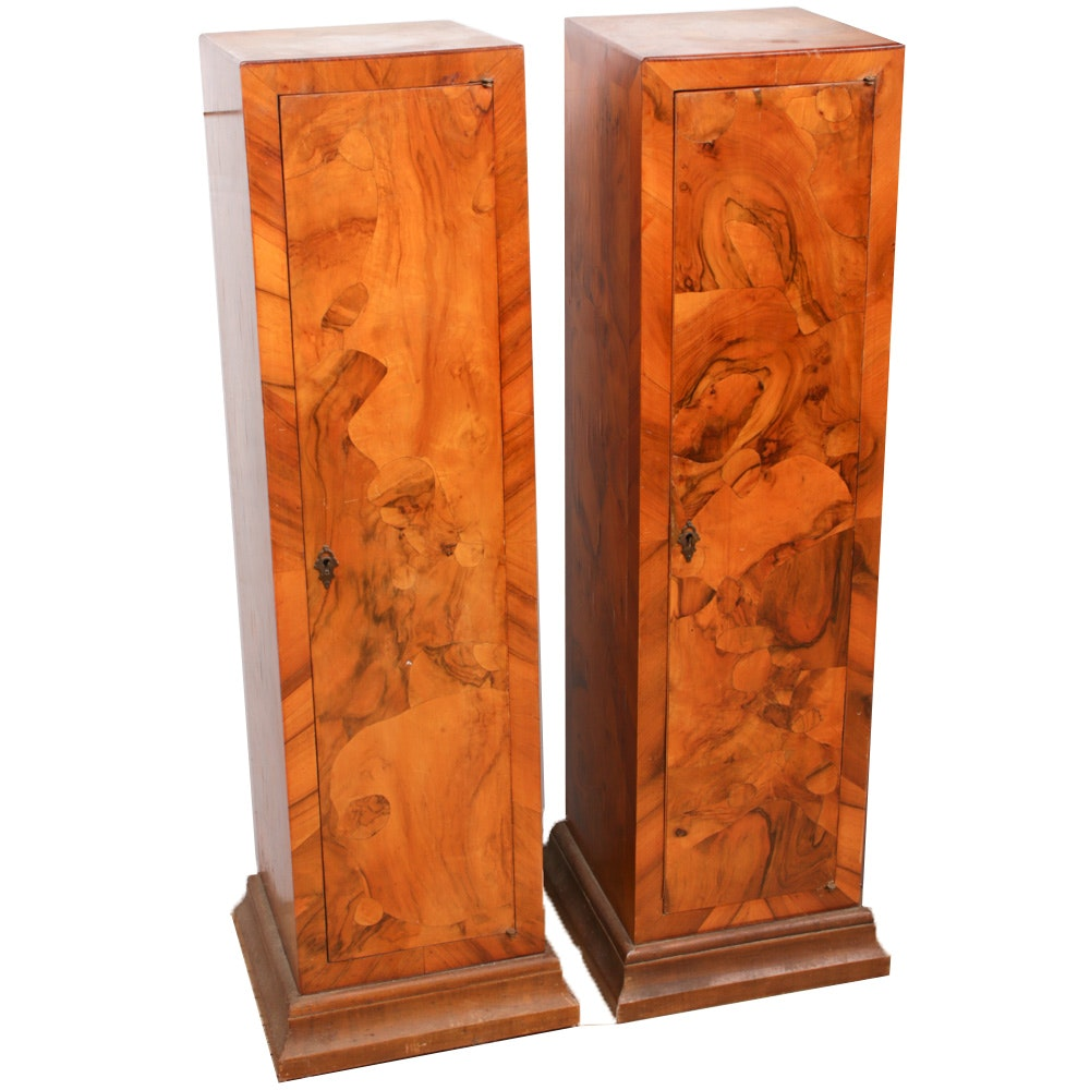 Two Art Deco Burl Wood Veneered Pedestal Cabinets, Early 20th Century