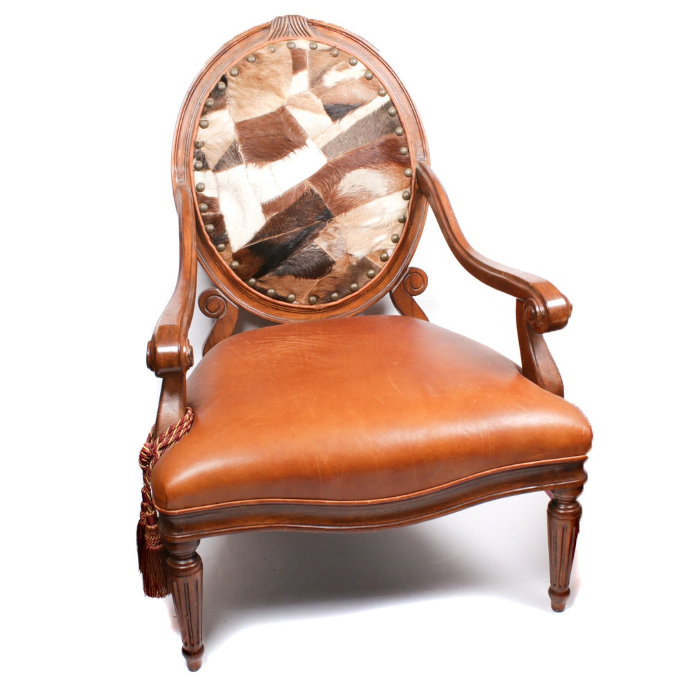 Contemporary Patchwork Cowhide and Leather Upholstered Armchair