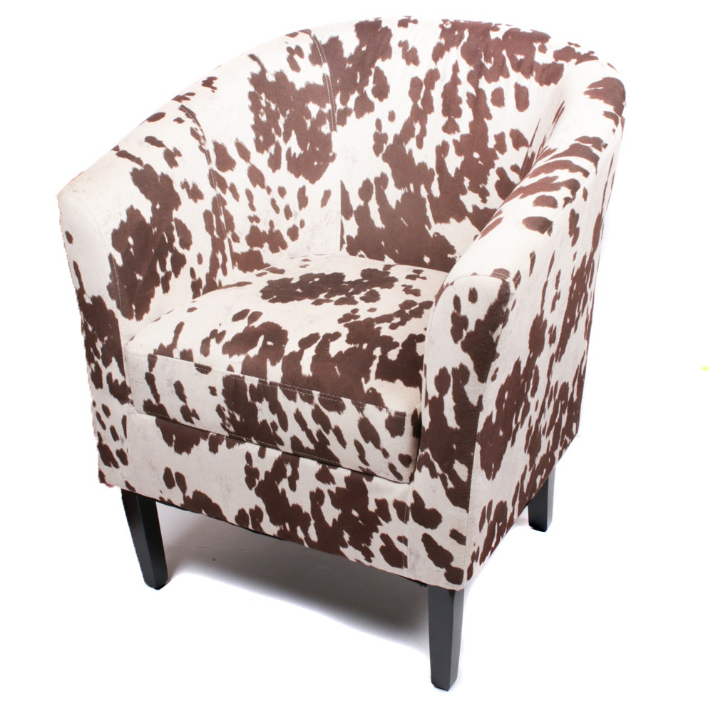 Contemporary Microsuede Upholstered Barrel Back Armchair