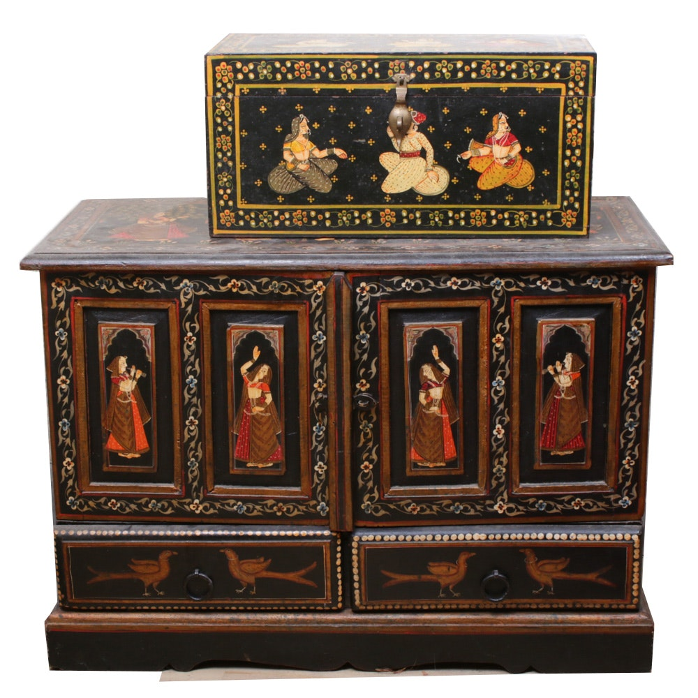 Indian Lacquered Wood Cabinet with Ganesha Motif and Wood Chest