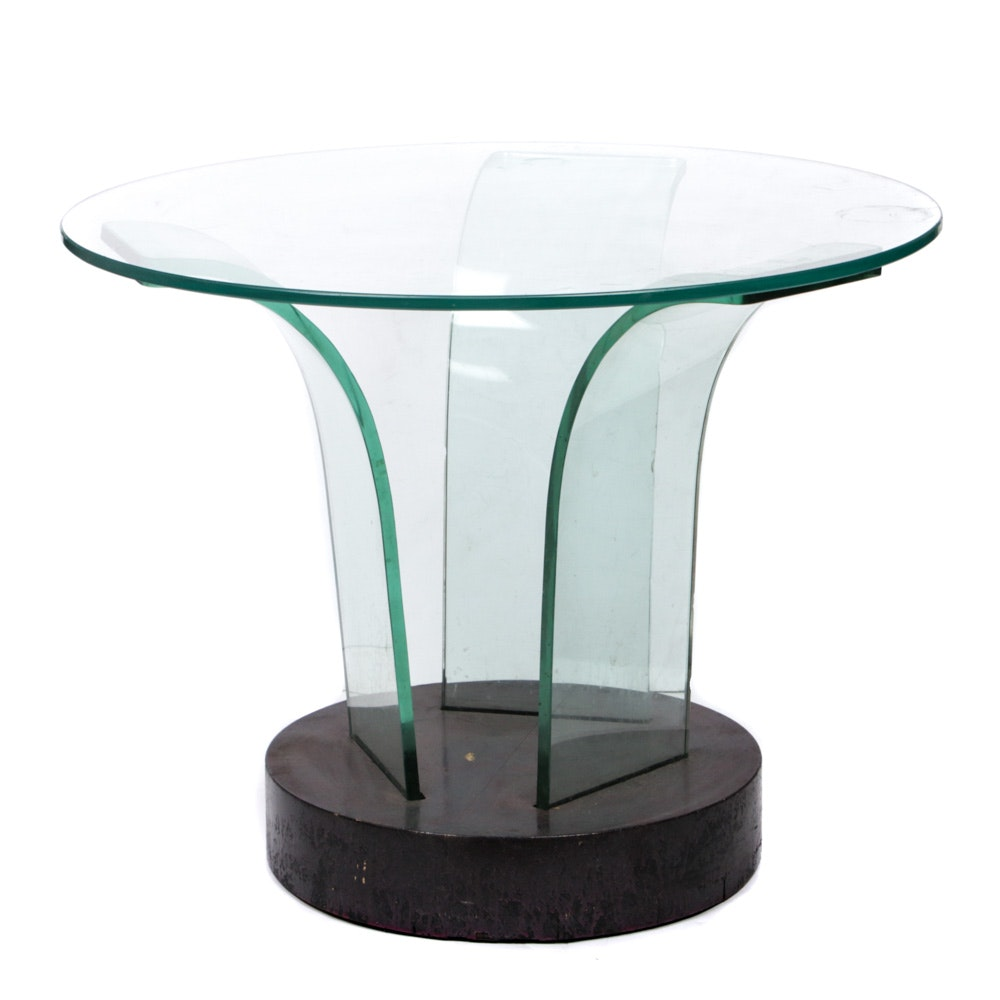 Contemporary Glass Top Side Table, Late 20th Century