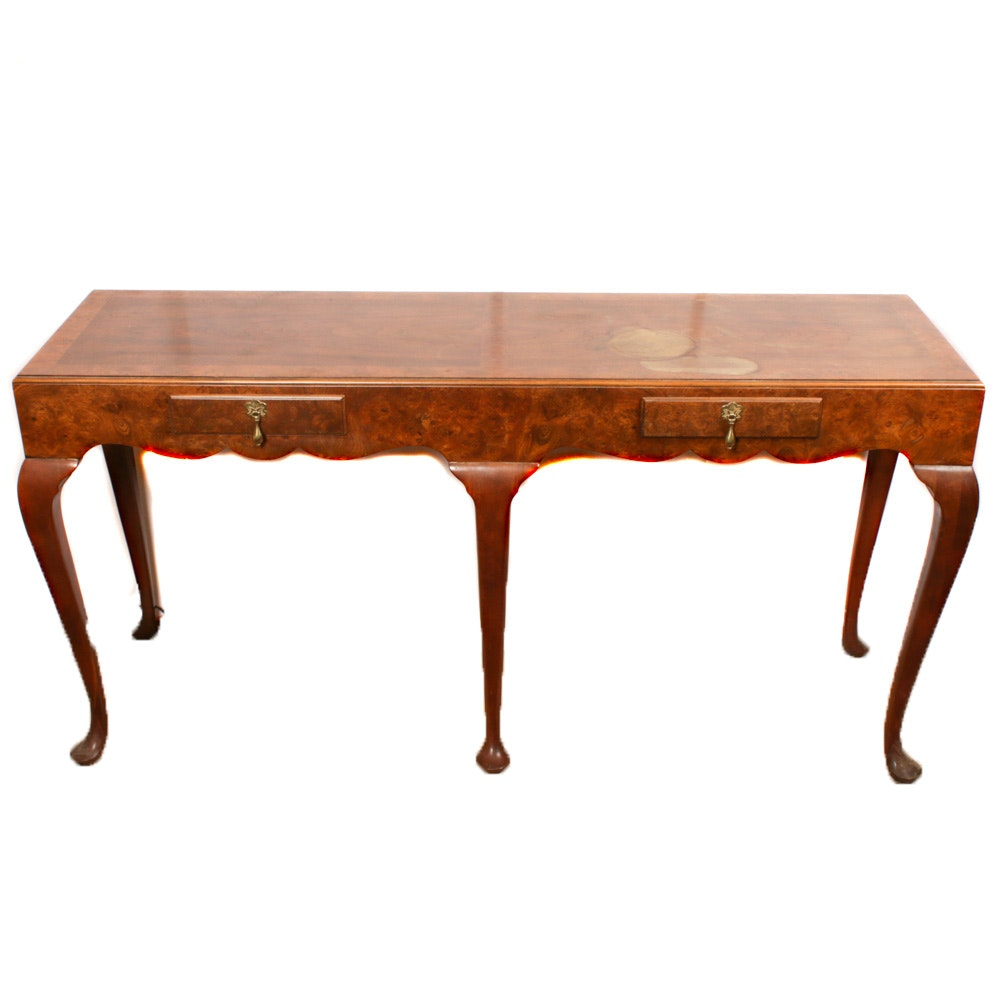 Queen Anne Style Burl Wood Veneered Console Table by Baker, 20th Century