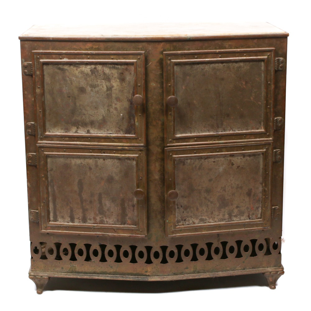 Steel and Marble Topped Plate Warmer Cabinet, Late 19th/Early 20th Century
