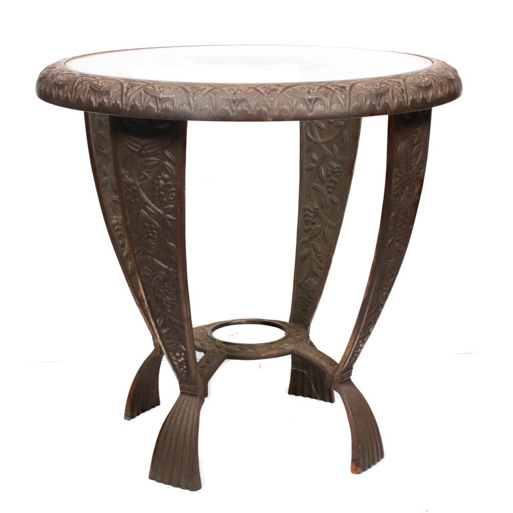 Art Nouveau Cast Metal Glass Top Accent Table, Antique