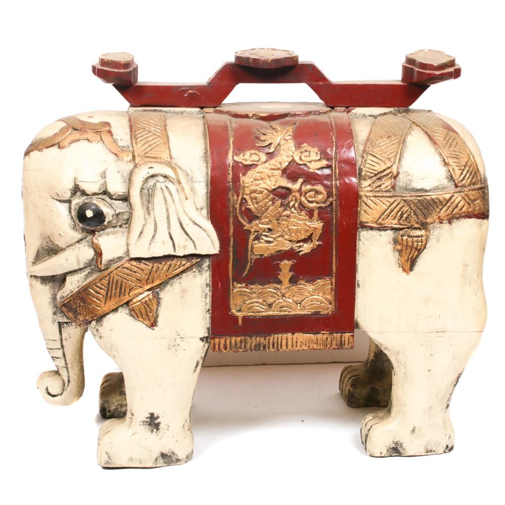 Chinese Carved Wood Elephant