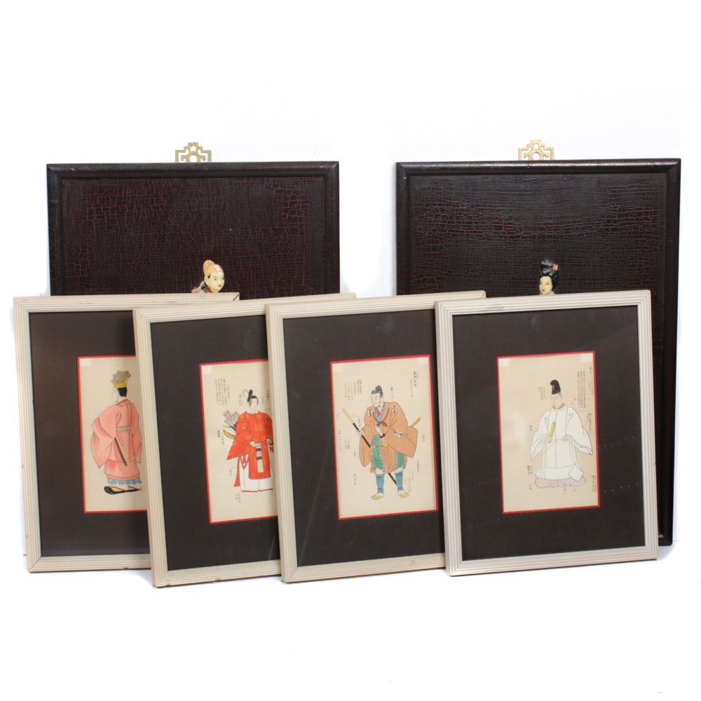 Japanese Woodblocks with Chinese Resin Wall Hangings