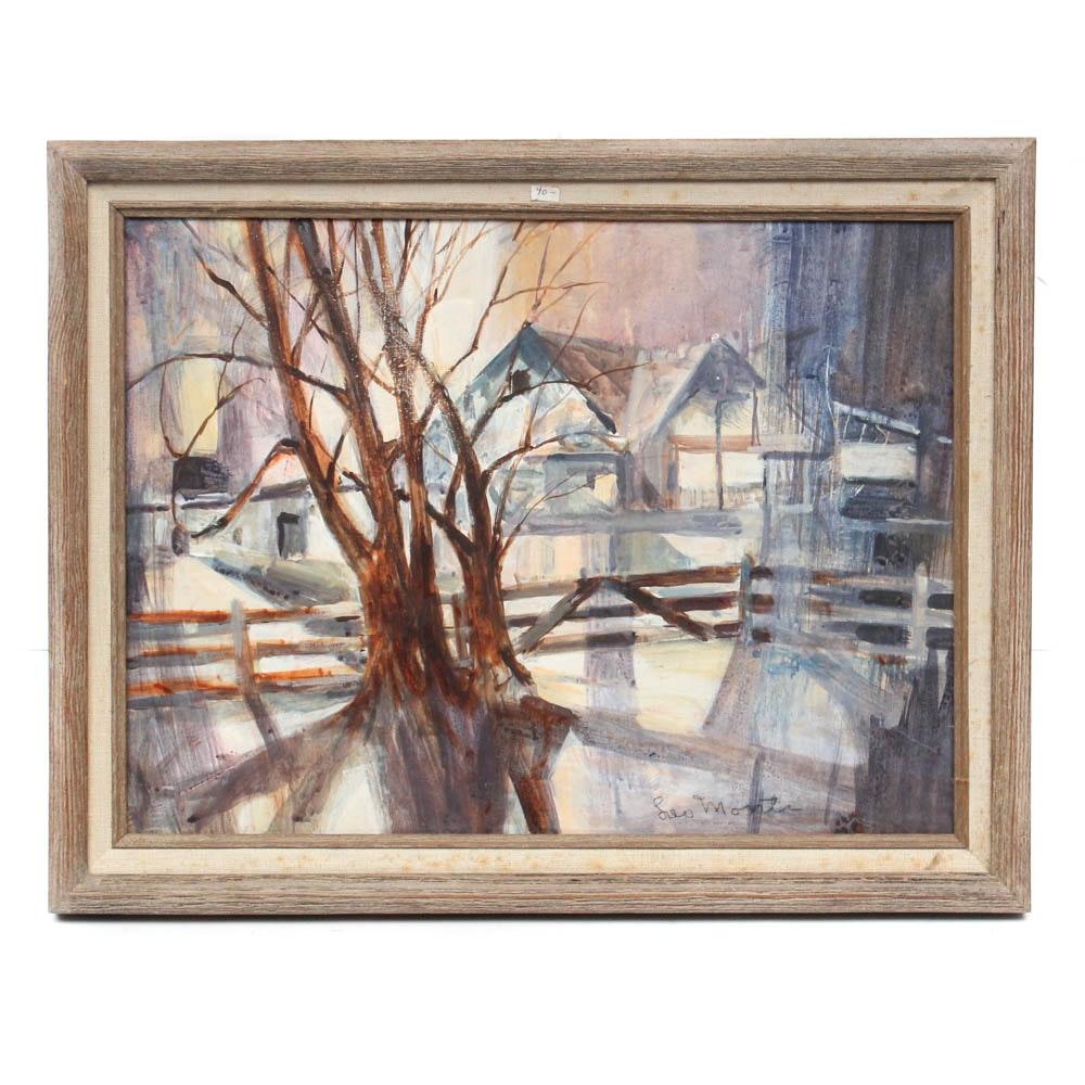 Leo Monti Winter Landscape Acrylic Painting