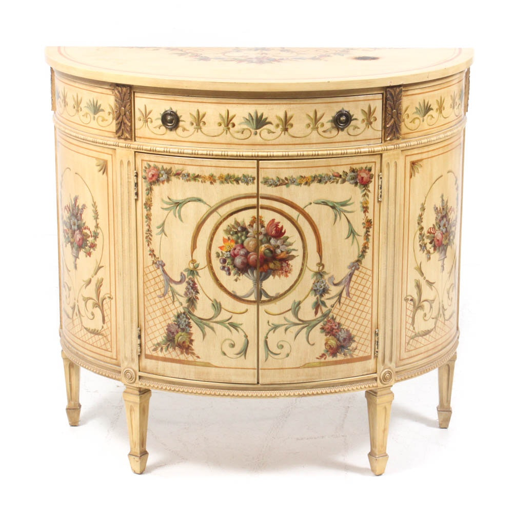 French Provincial Antiqued and Hand-Painted Demilune Cabinet, Vintage