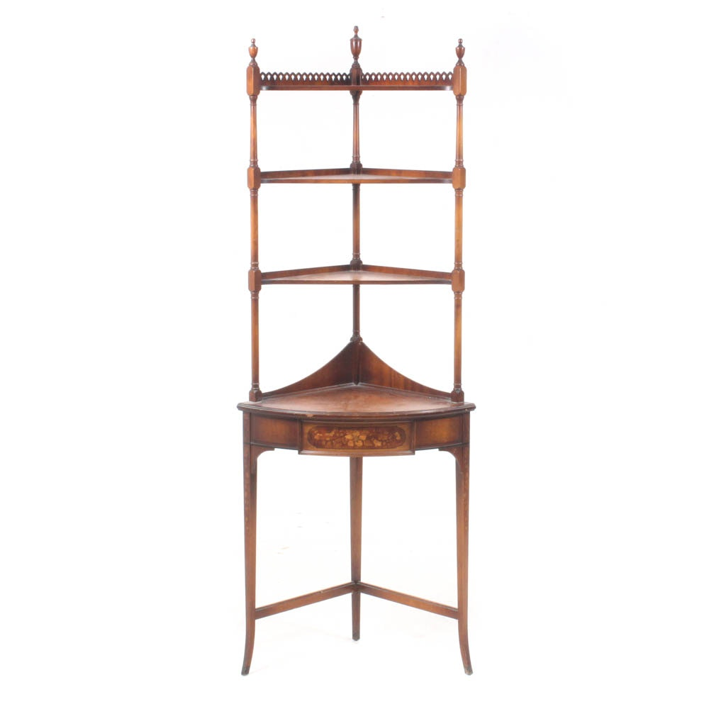 Grand Rapids Mahogany Faux Inlay Corner Etagere