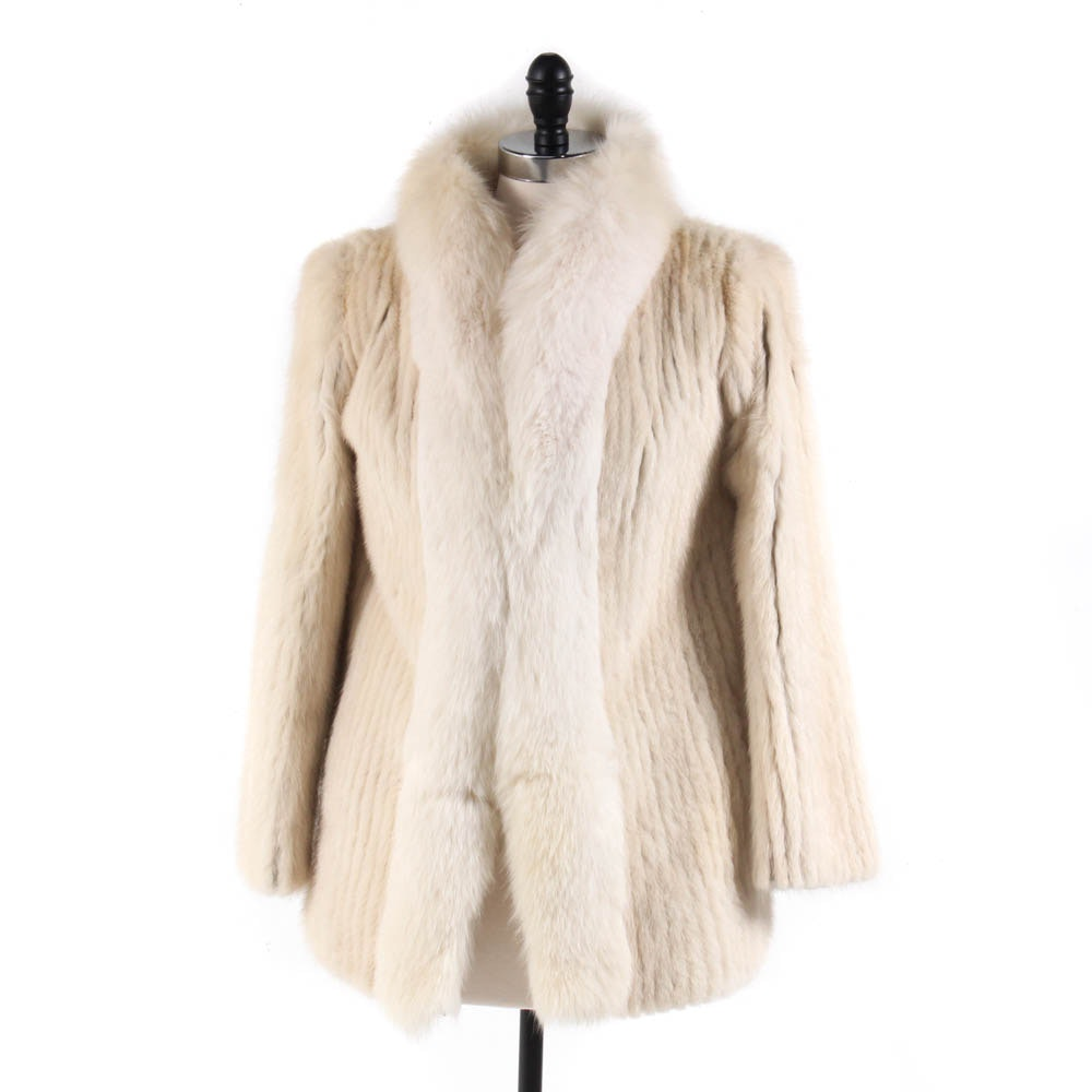 New York Furs Corded Mink Fur Jacket with Fox Fur Tuxedo Collar