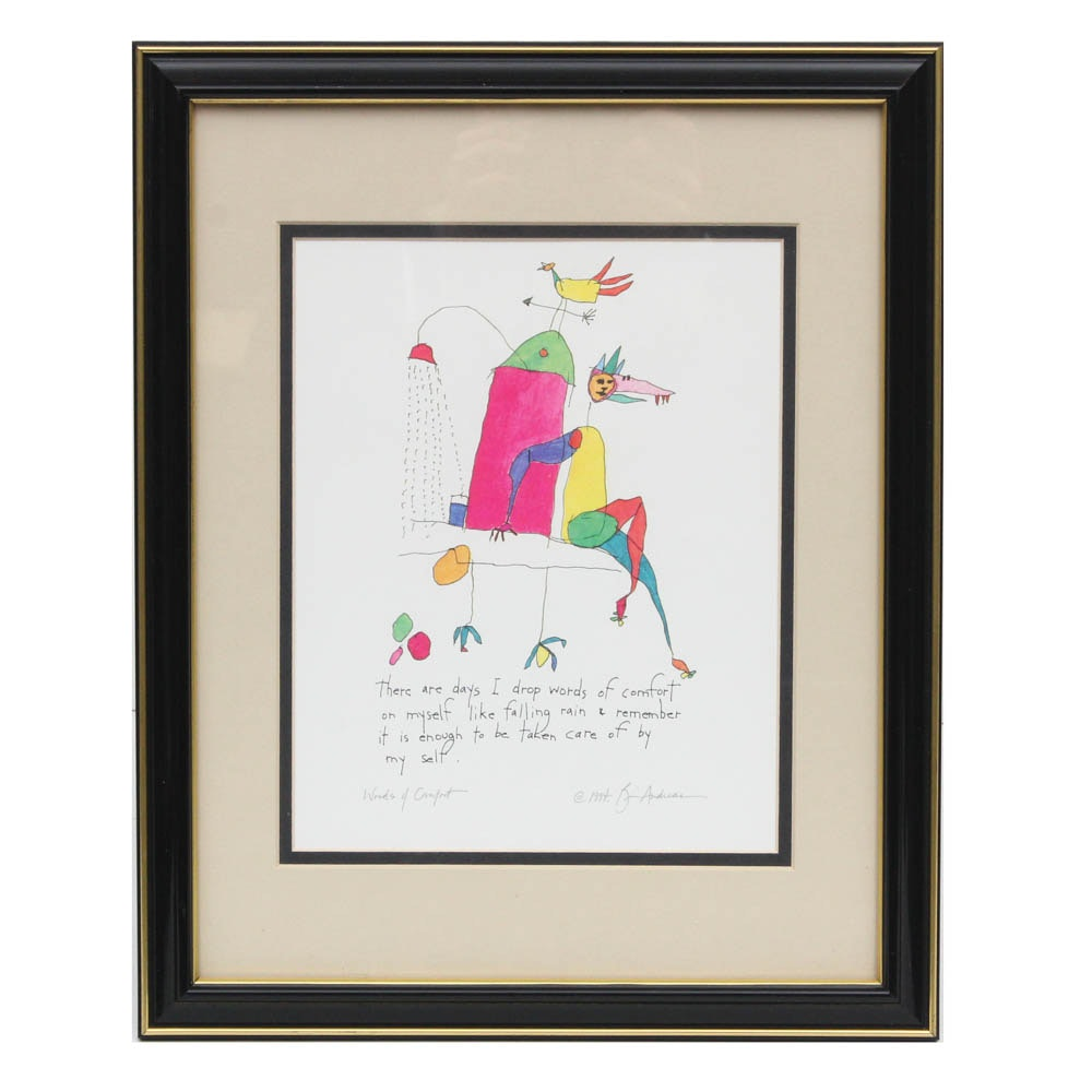 """Brian Andreas Offset Lithograph """"Words of Comfort"""""""