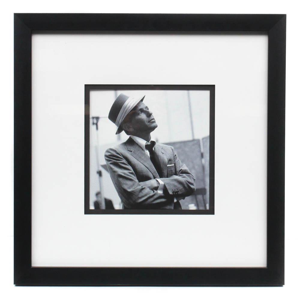 Frank Sinatra Black and White Portrait Offset Lithograph