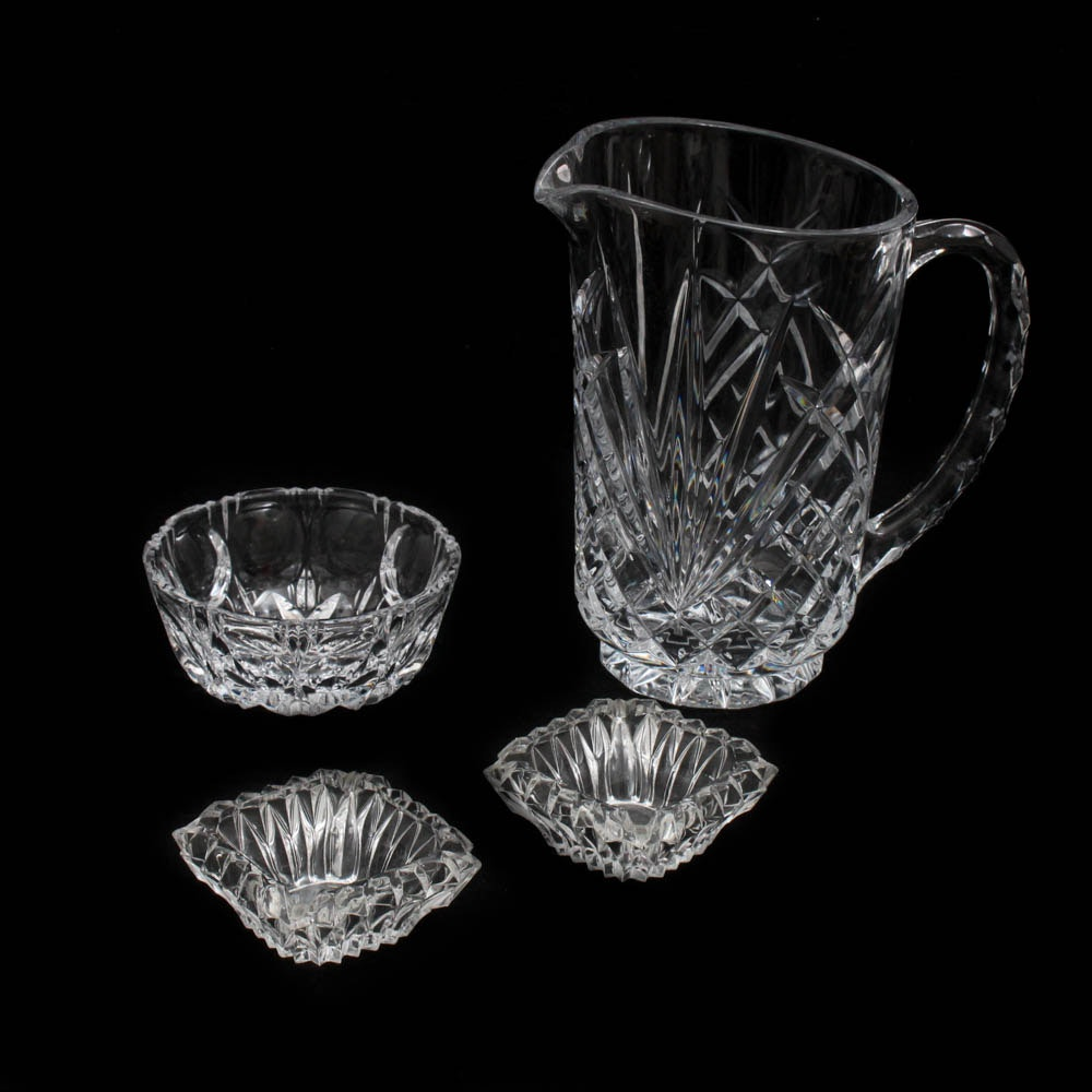 Clear Pressed Glass Pitcher and Accessories