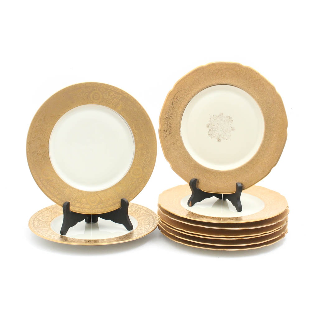 Heinrich & Co. Gold Encrusted Scalloped Dinner Plates