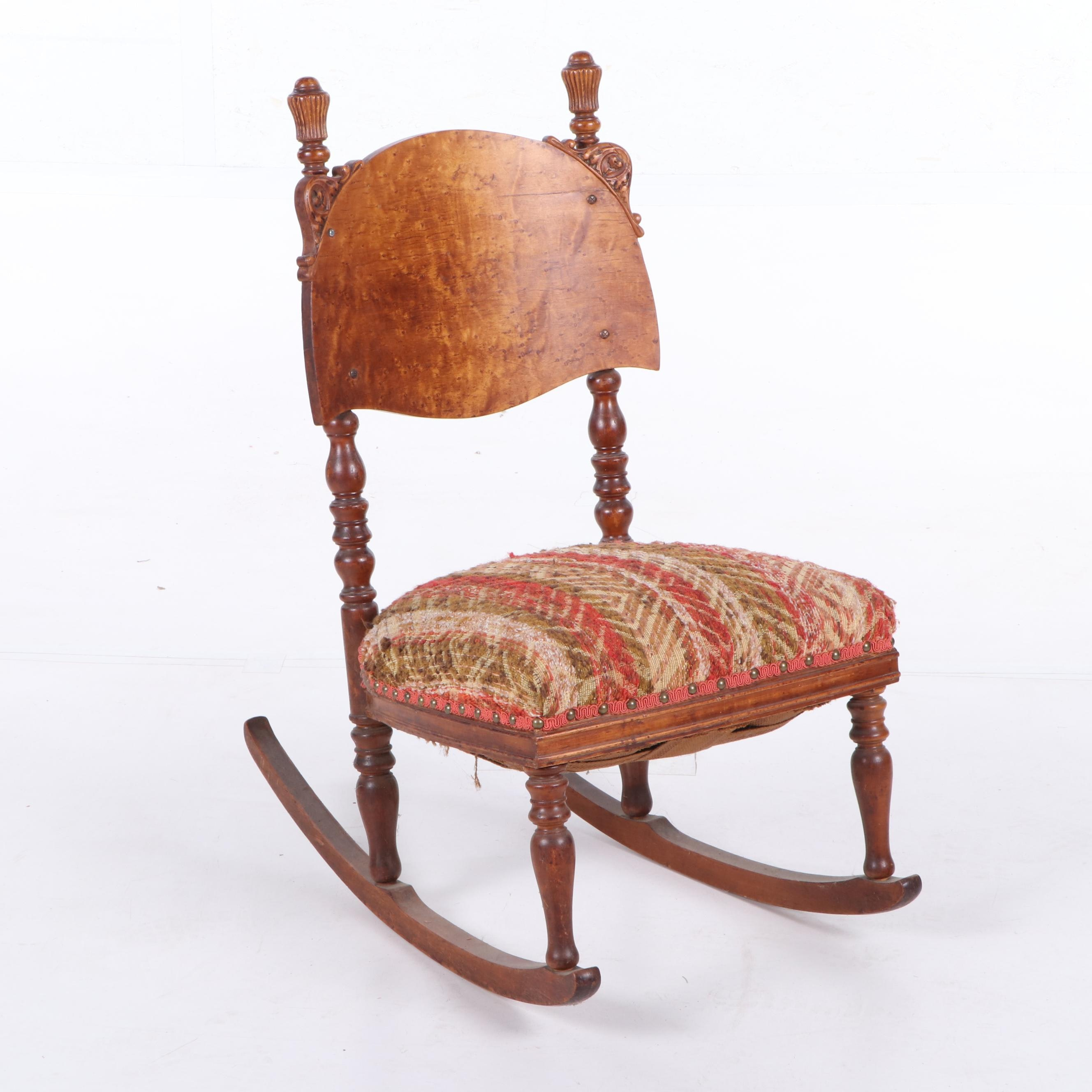 Mixed Wood Rocking Chair, Late 19th Century