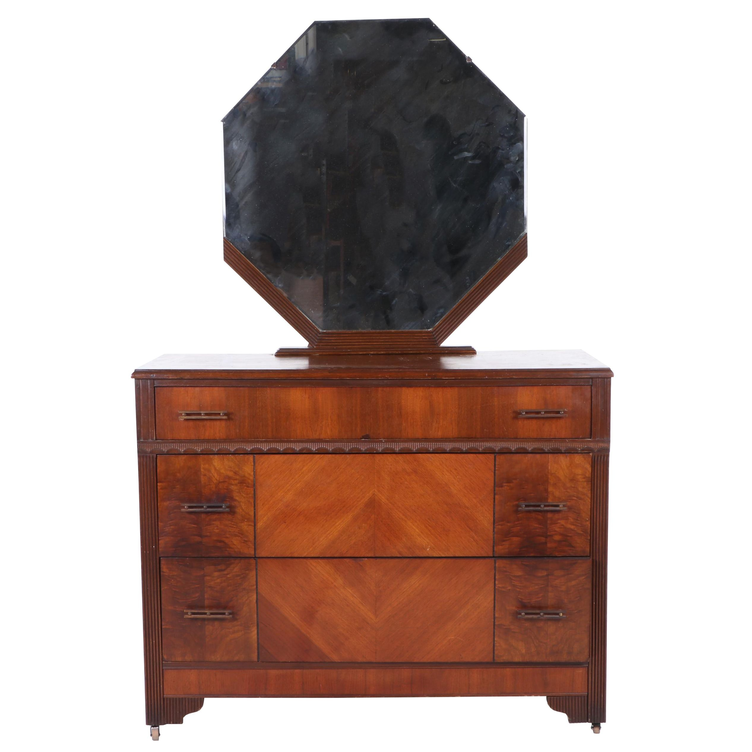 Art Deco Style Walnut Veneer Dresser with Mirror, Early 20th Century