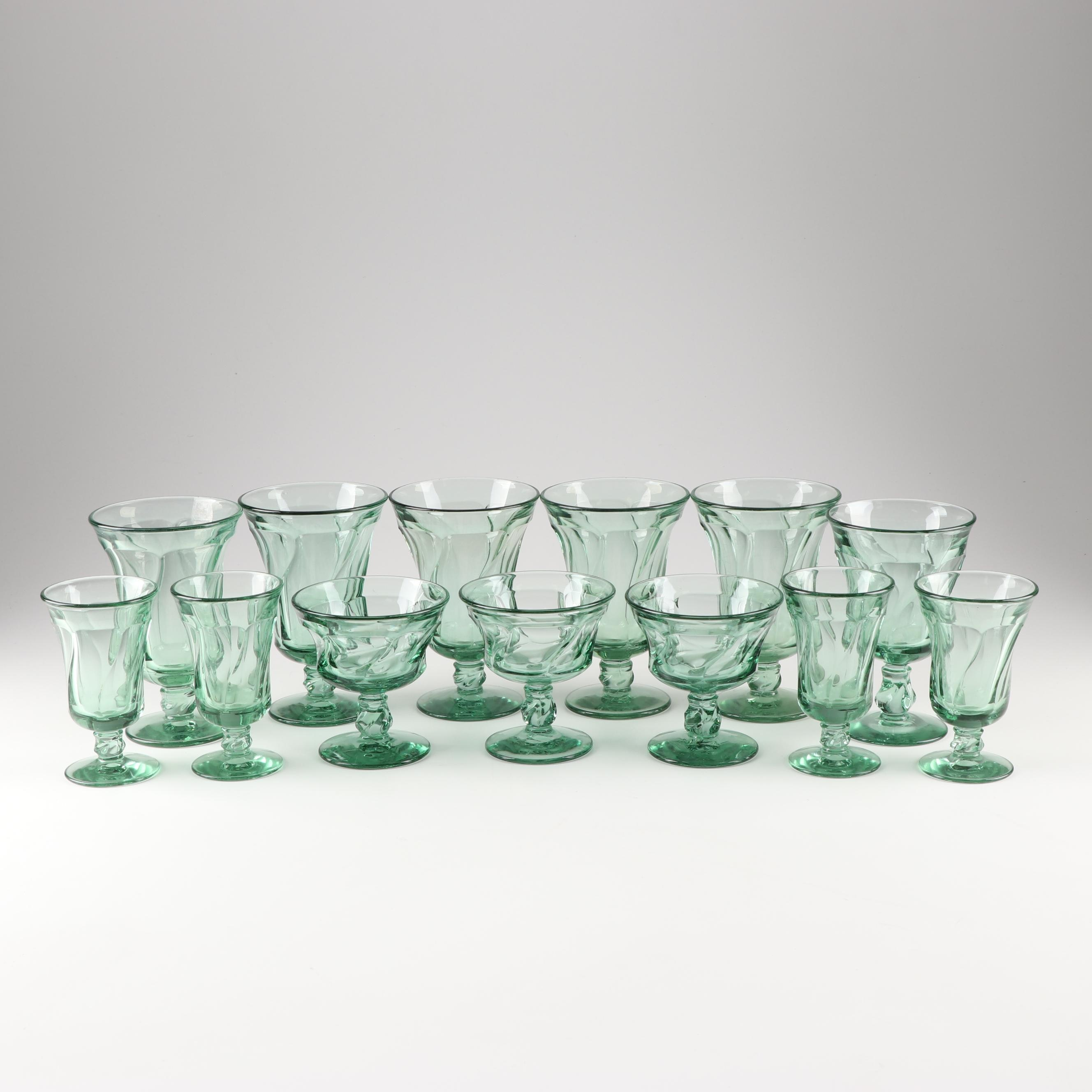 "Fostoria ""Jamestown Green"" Stemware"