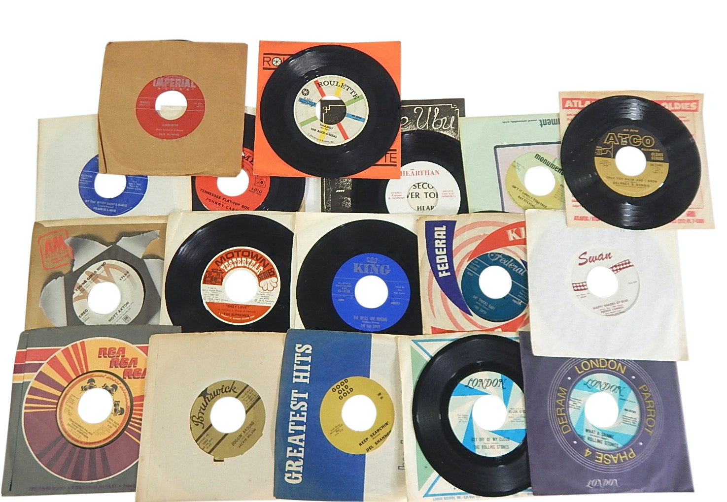 45 RPM Record Albums with Country, Rock, R&B - J.Cash, King Records, More