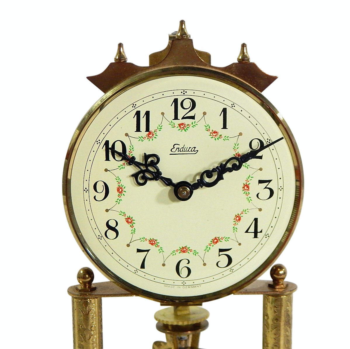 Endura German Brass Anniversary Clock with Glass Dome