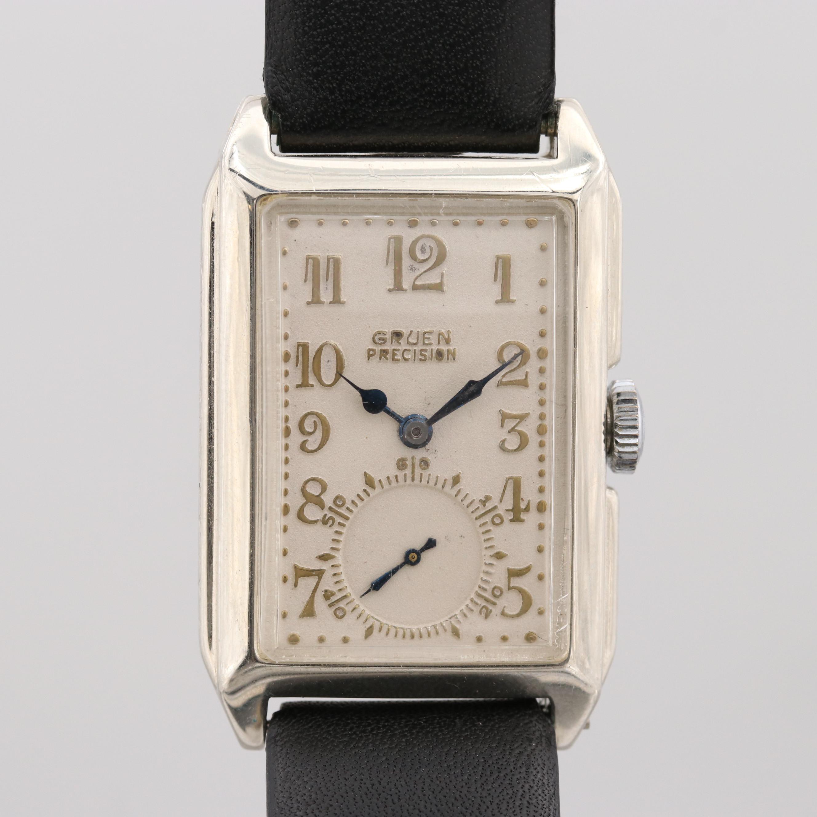 Vintag Gruen 14K White Gold Wristwatch