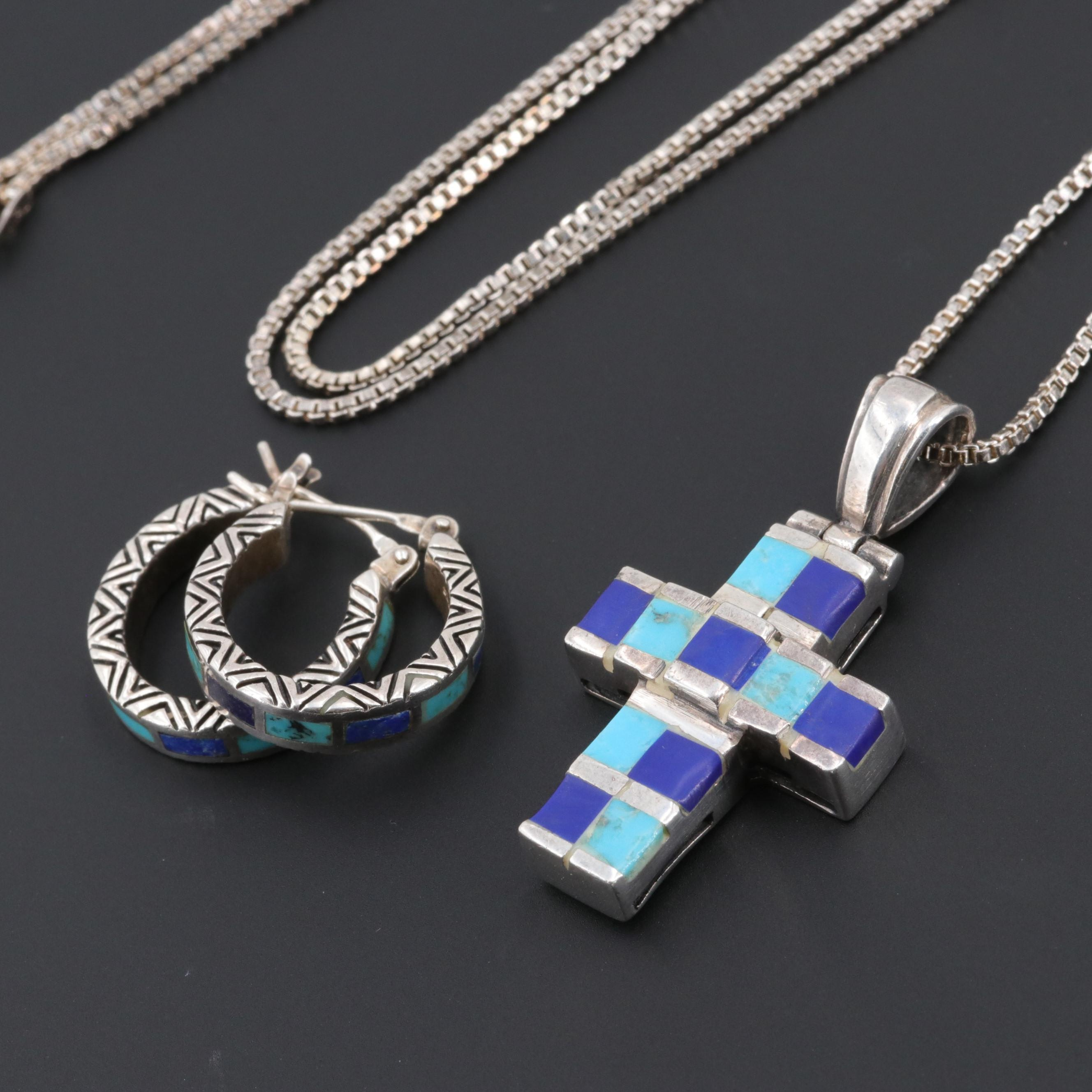 Sterling Silver Turquoise and Lapis Lazuli Cross Necklace and Hoop Earrings