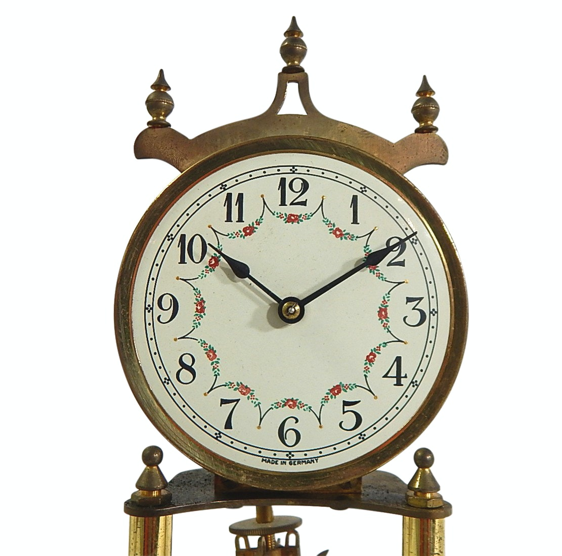 German Brass Anniversary Clock with Glass Dome