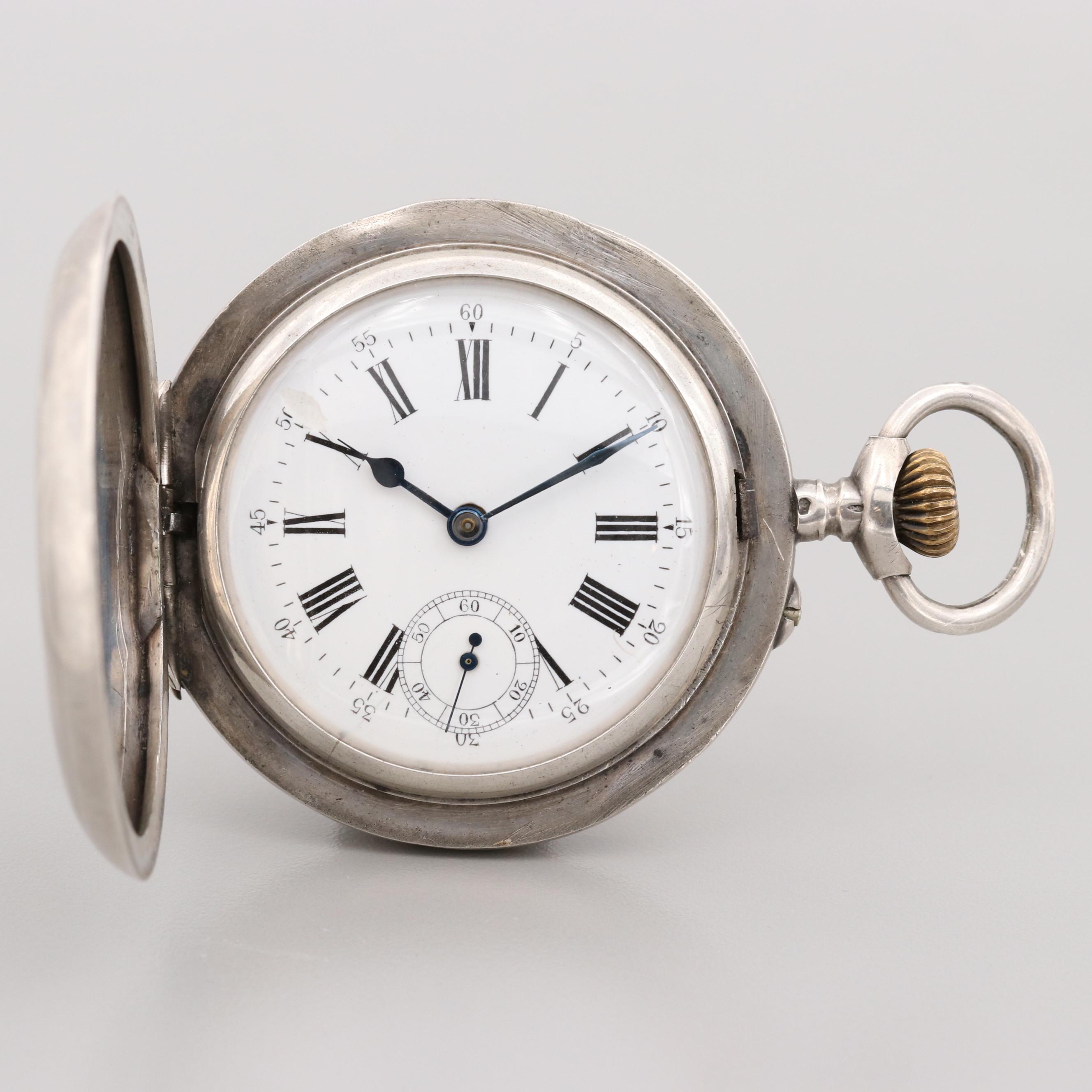 Vintage 875 Silver Hunting Case Pocket Watch