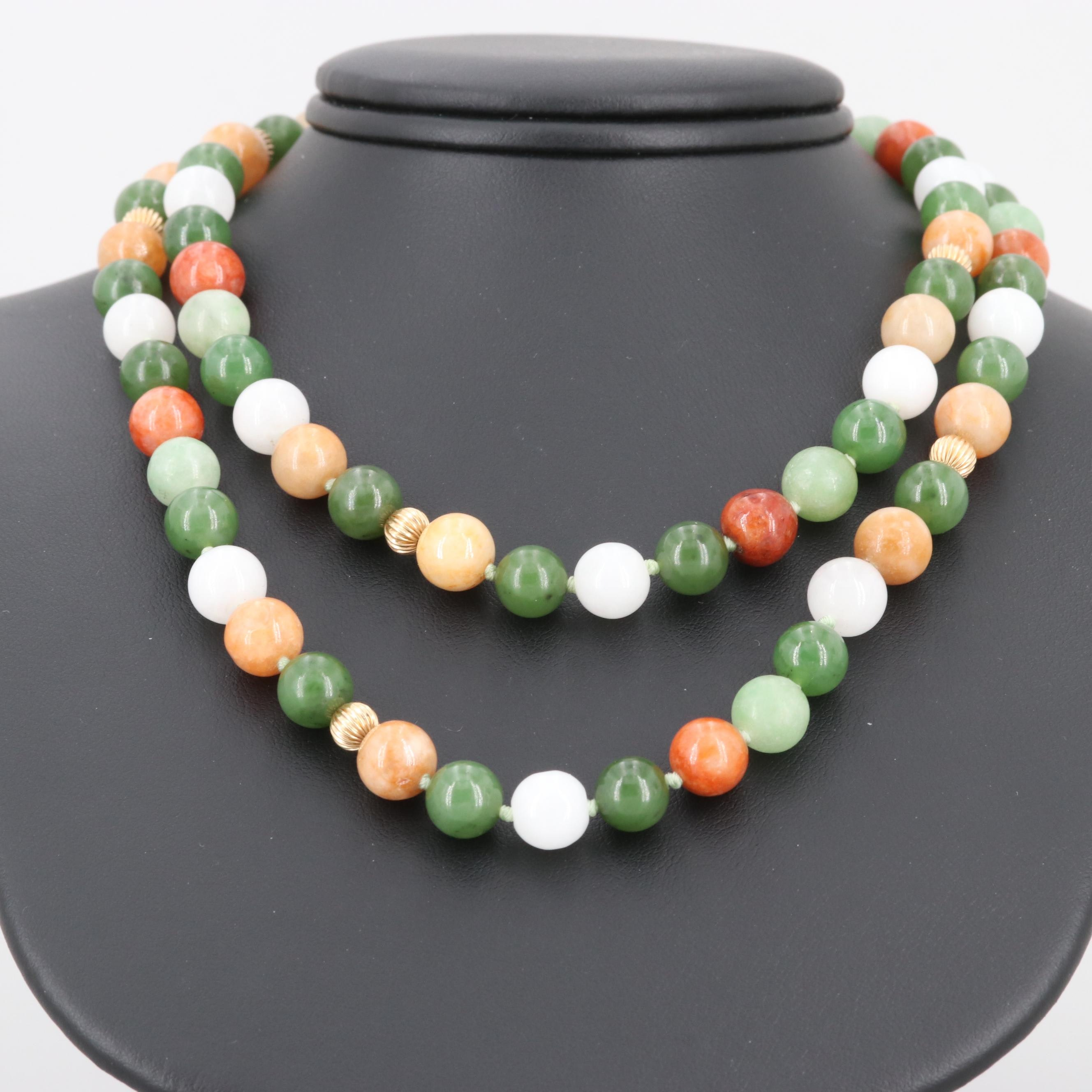 Nephrite, Quartz and Jadeite Endless Necklace with 14K Yellow Gold Stations