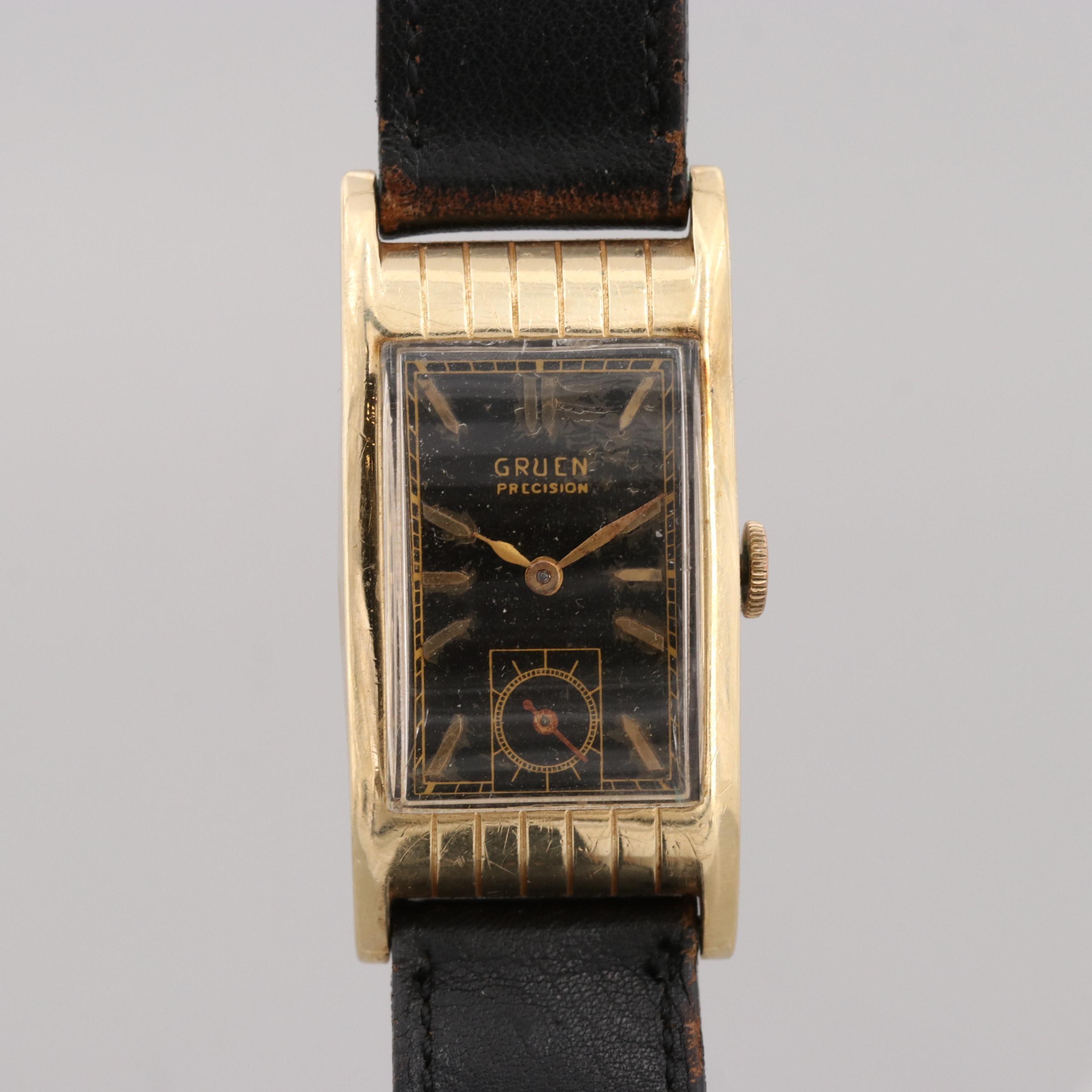 Vintage Gruen 14K Yellow Gold Stem Wind Wristwatch