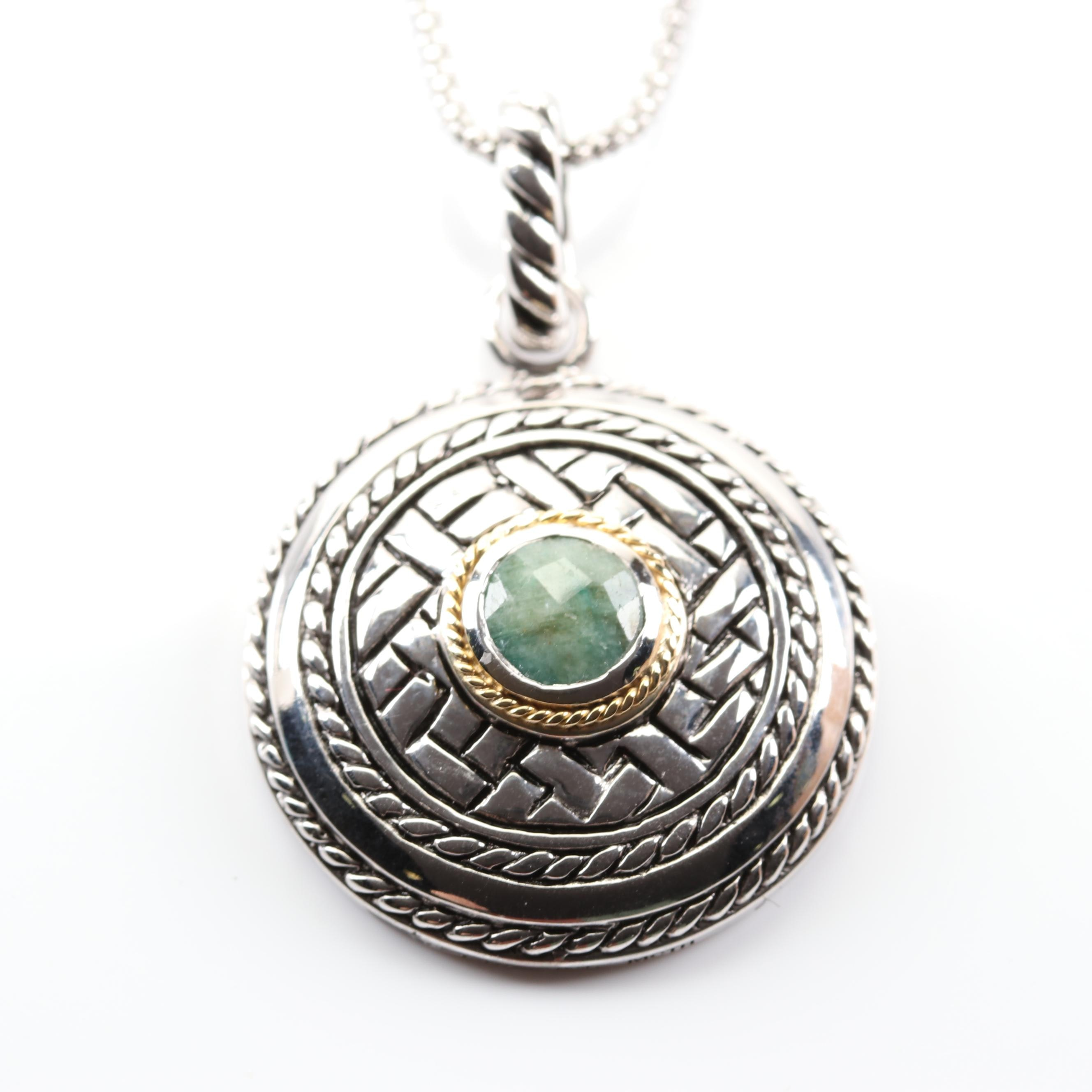 Sterling and Emerald Pendant Necklace with 14K Yellow Gold Rope Accent