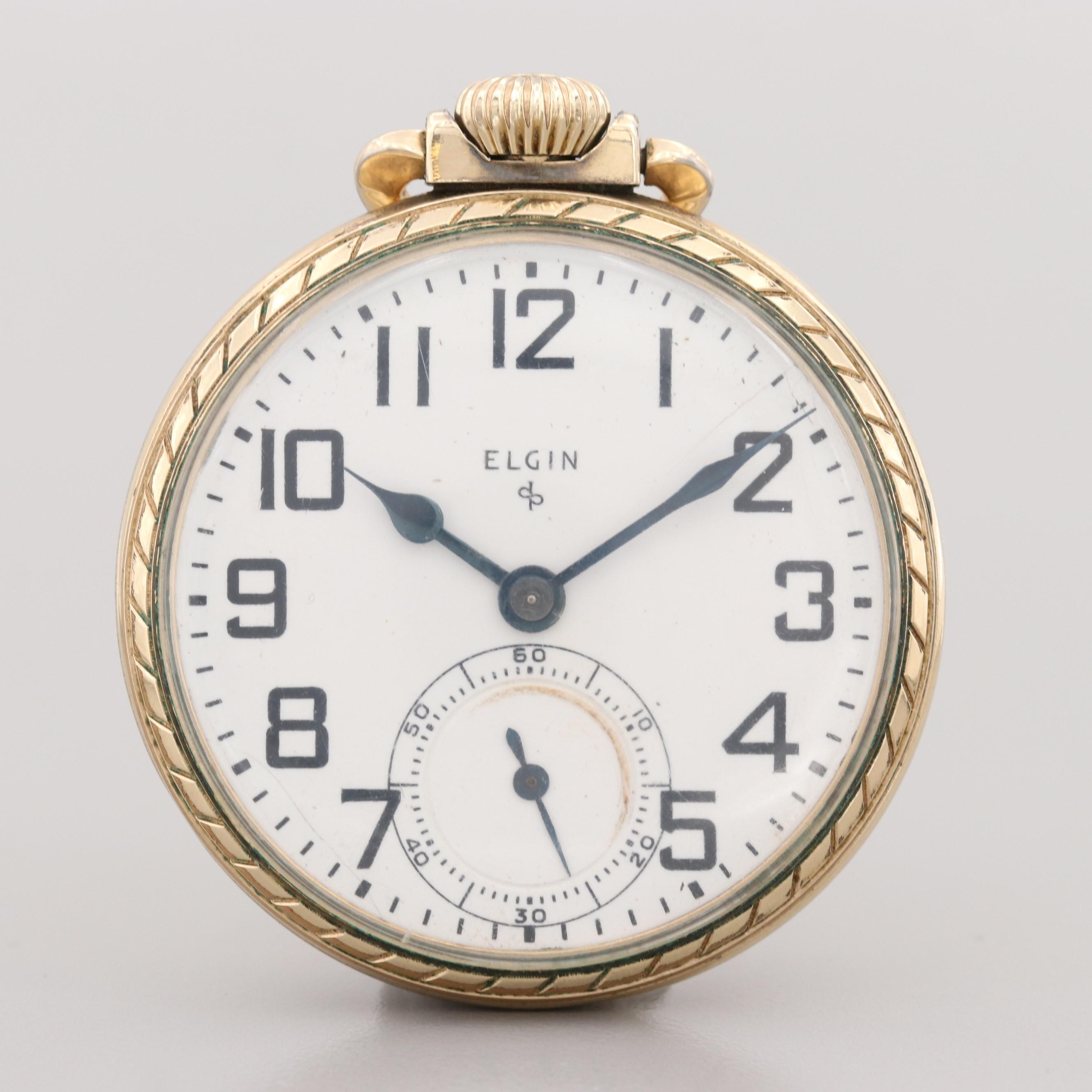 Vintage Elgin 10K Rolled Gold Open Face Pocket Watch