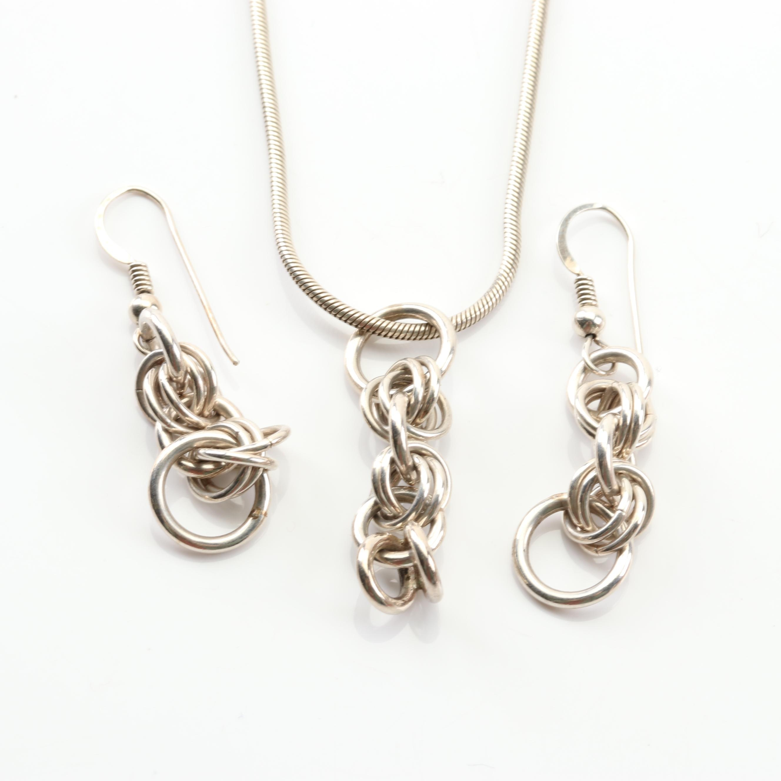 Italian Sterling Silver Pendant Necklace and Dangle Earring Set