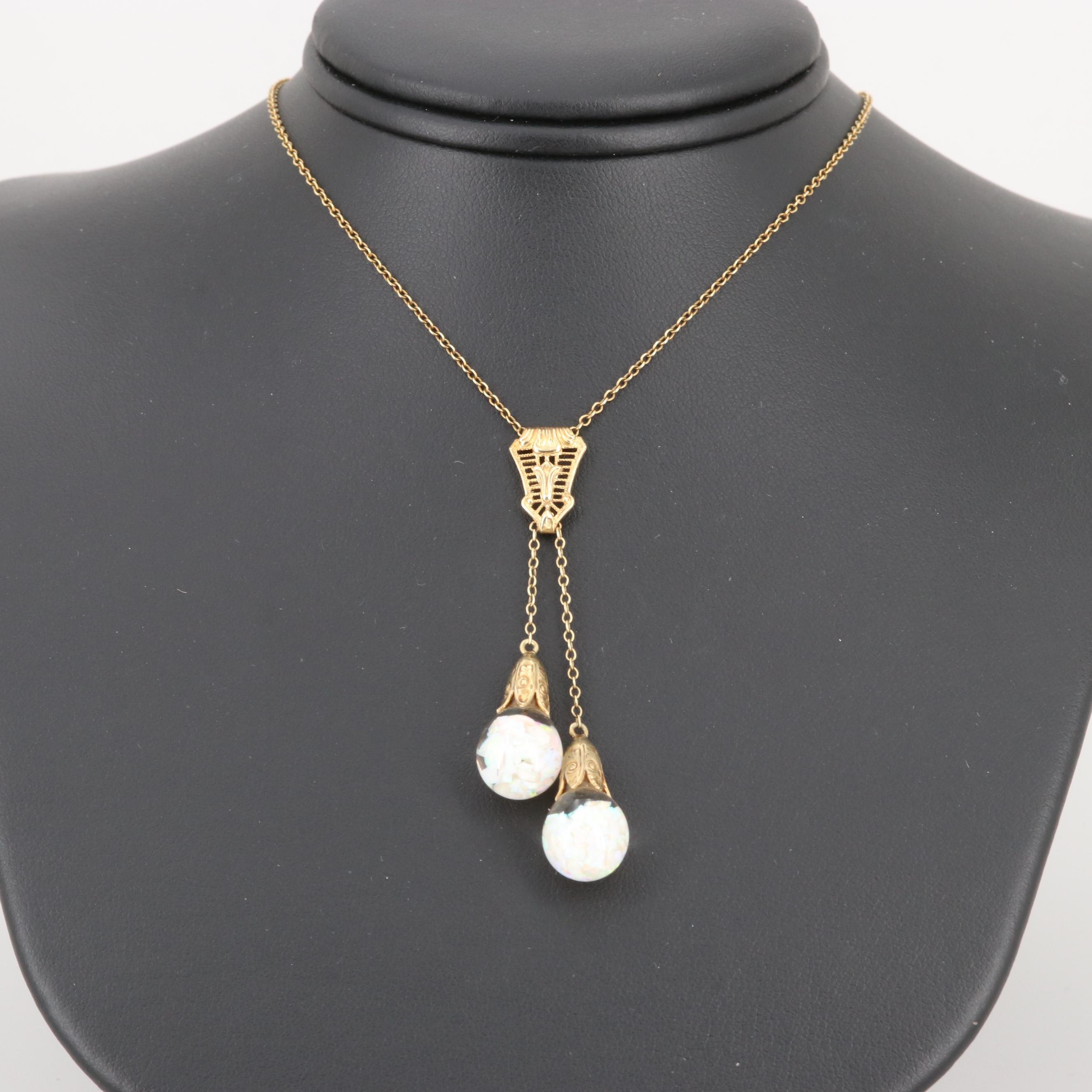Art Deco 14K Yellow Gold Opal and Glass Negligee Necklace