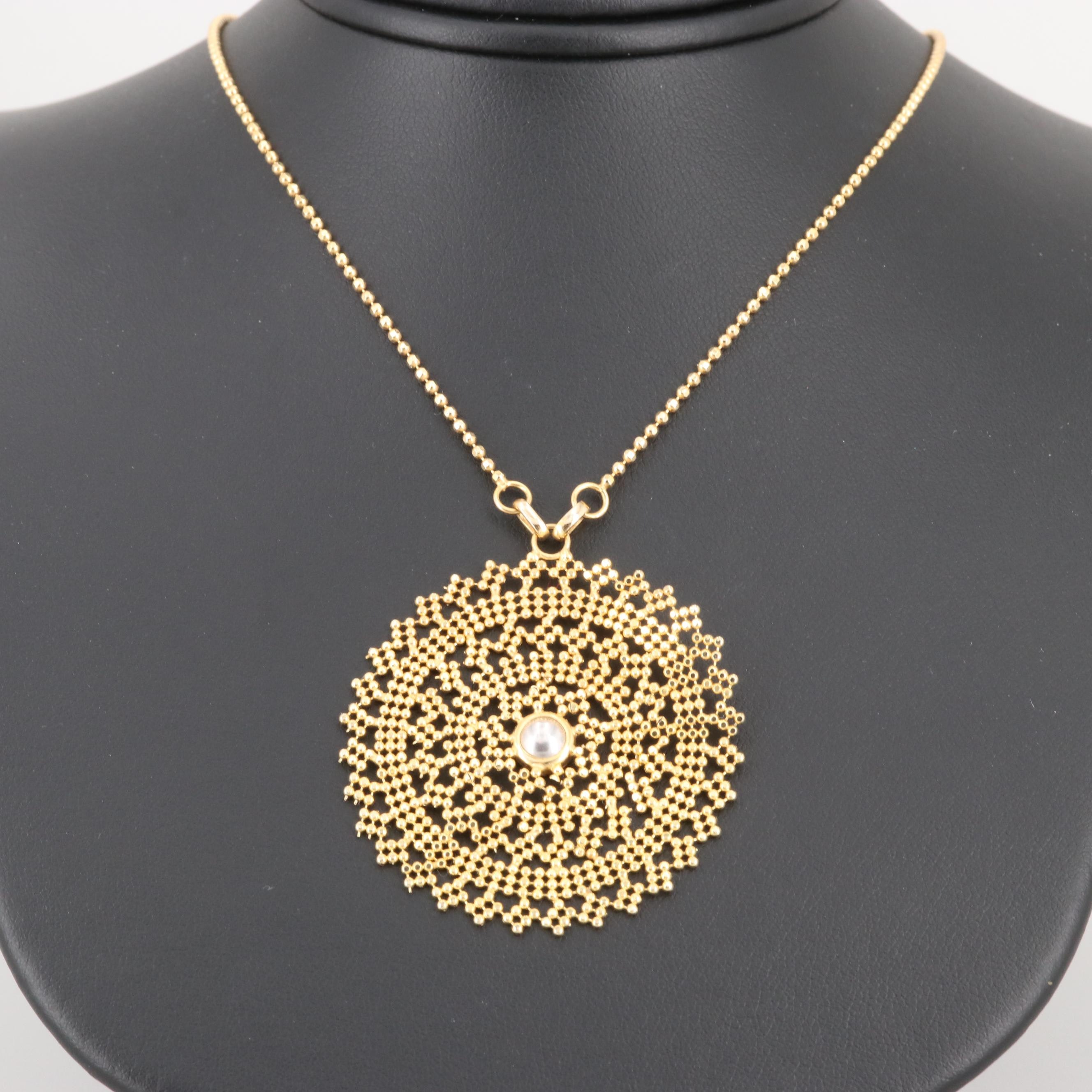 Italian 14K Yellow Gold Pendant Necklace