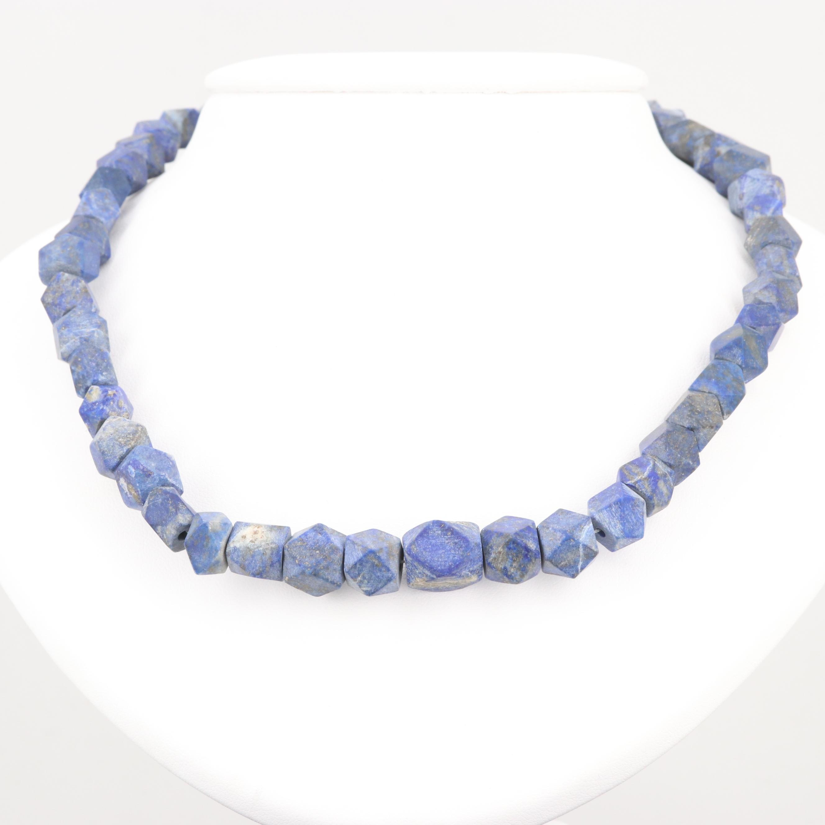 Lapis Lazuli Graduated Beaded Necklace with Gold Tone Clasp