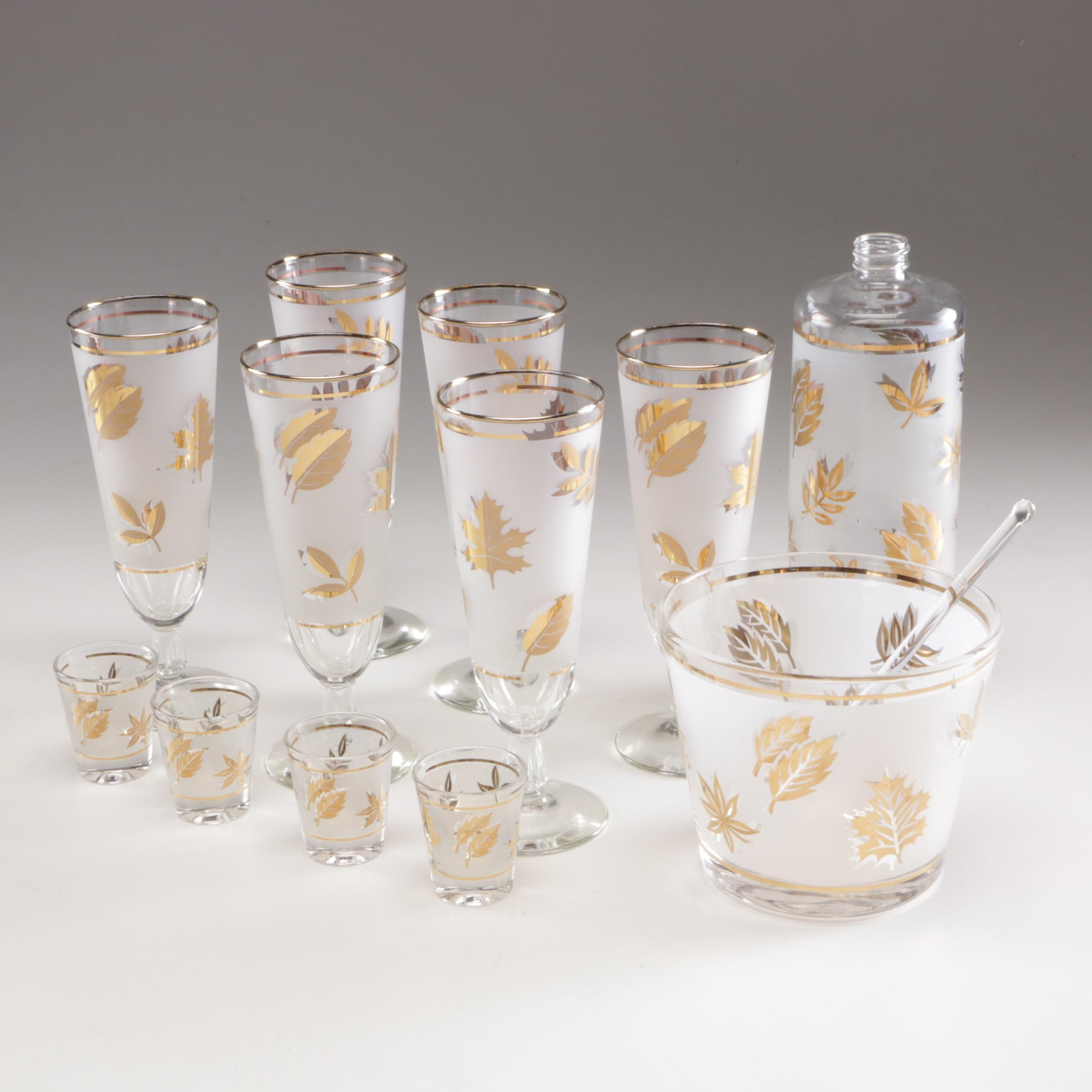Mid Century Libbey Starlyte Frosted Glass and Gold Leaf Barware