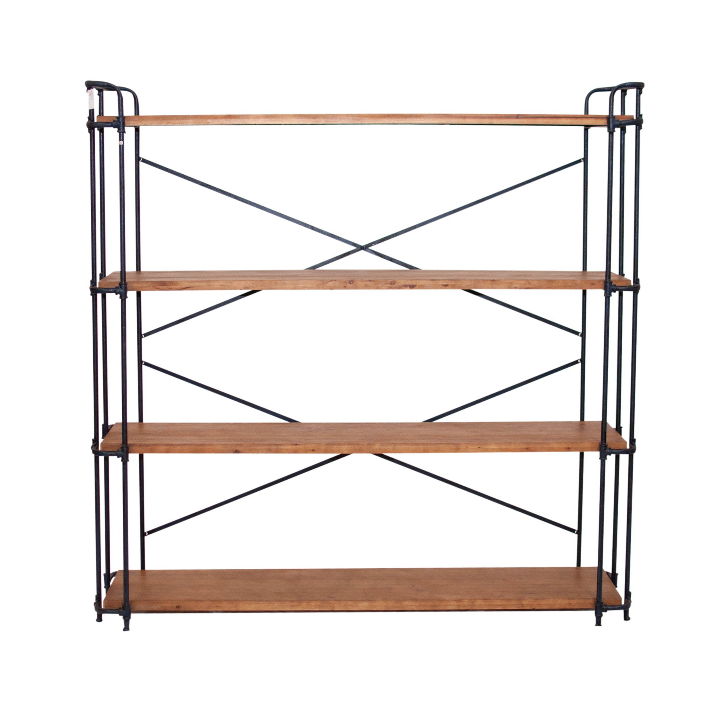 Industrial Wood and Metal Shelving Rack, Contemporary