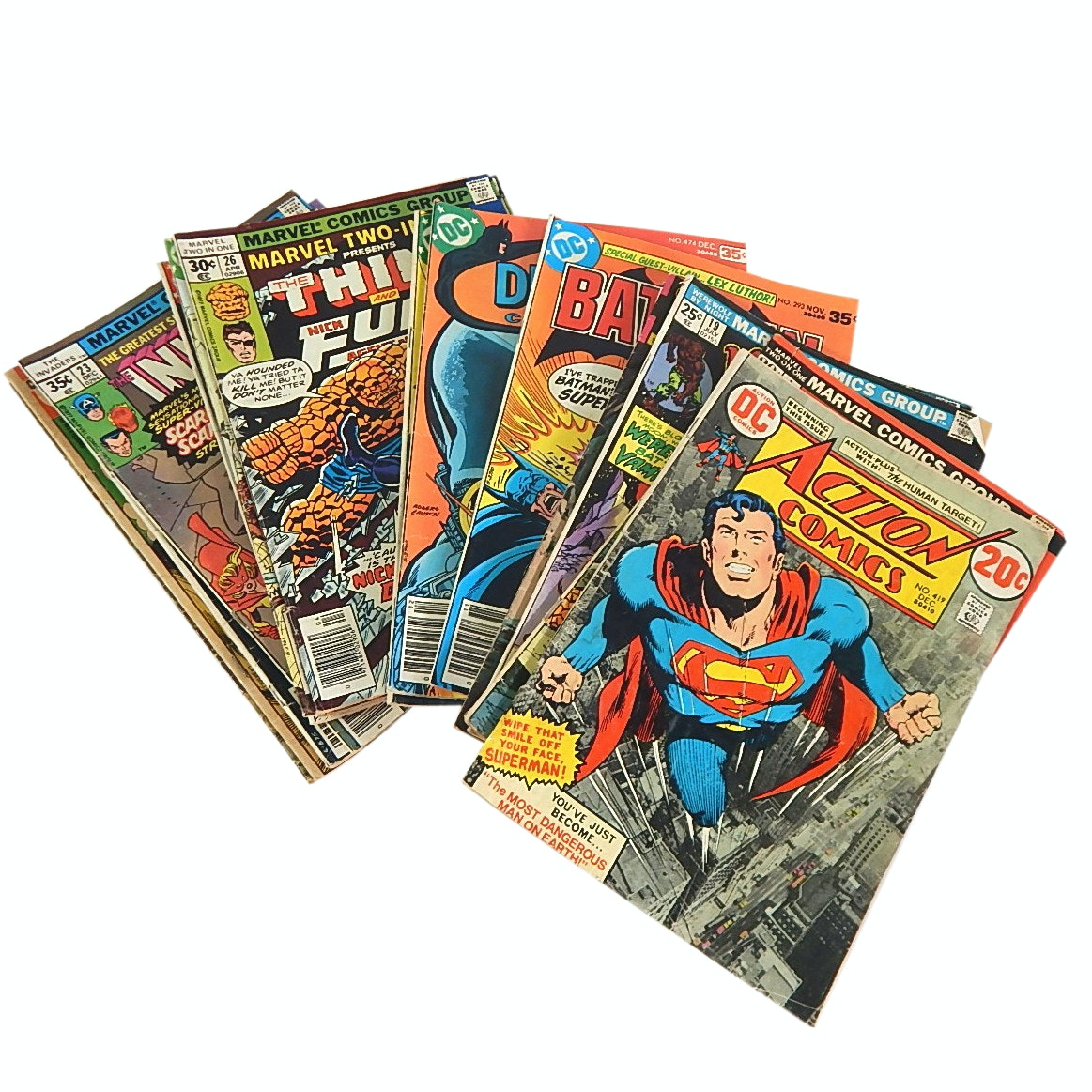 "1970s Comic Books with ""Action Comics"", ""Batman"", ""Spider-Man"" and More"