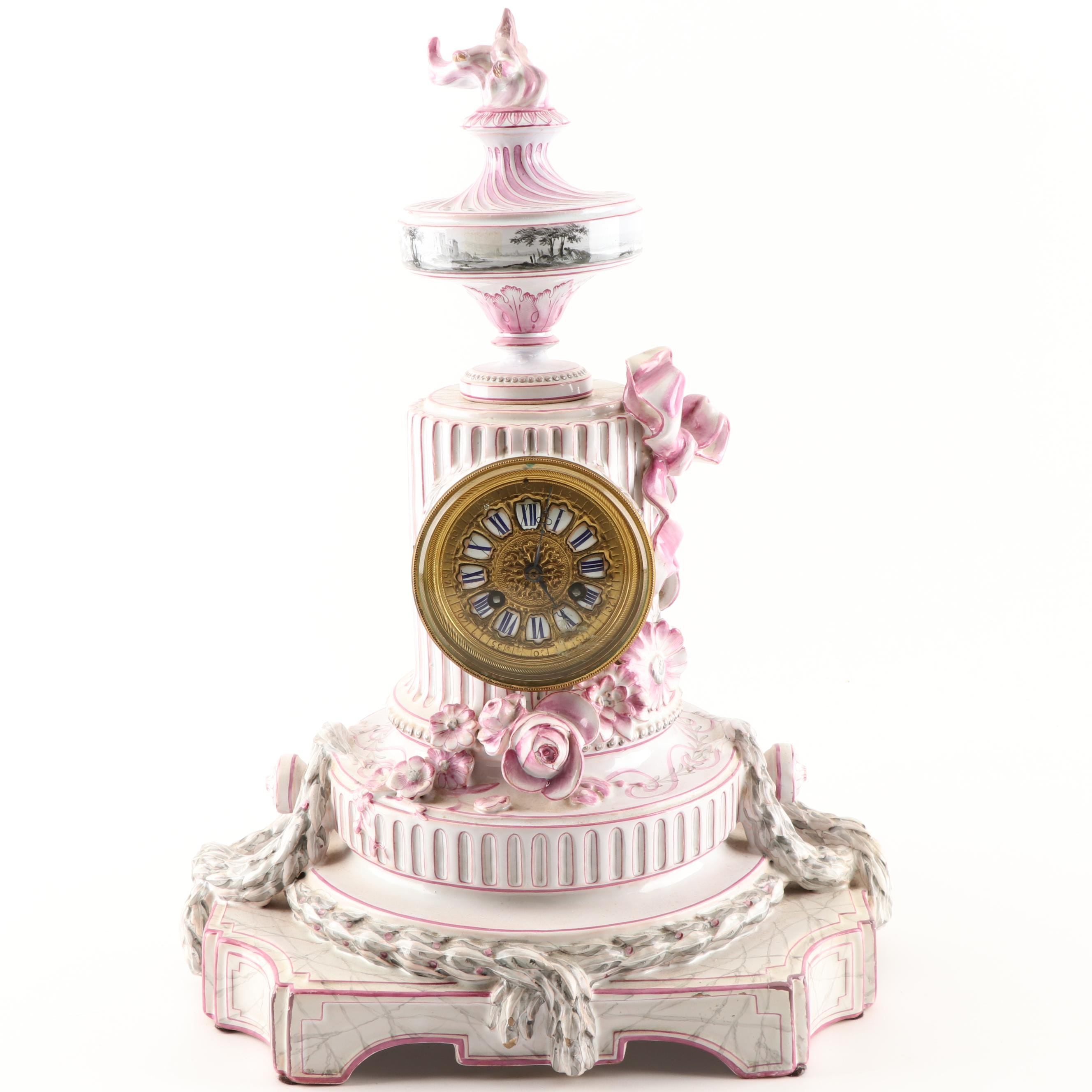French Style Porcelain Faïence Mantel Clock, 19th Century