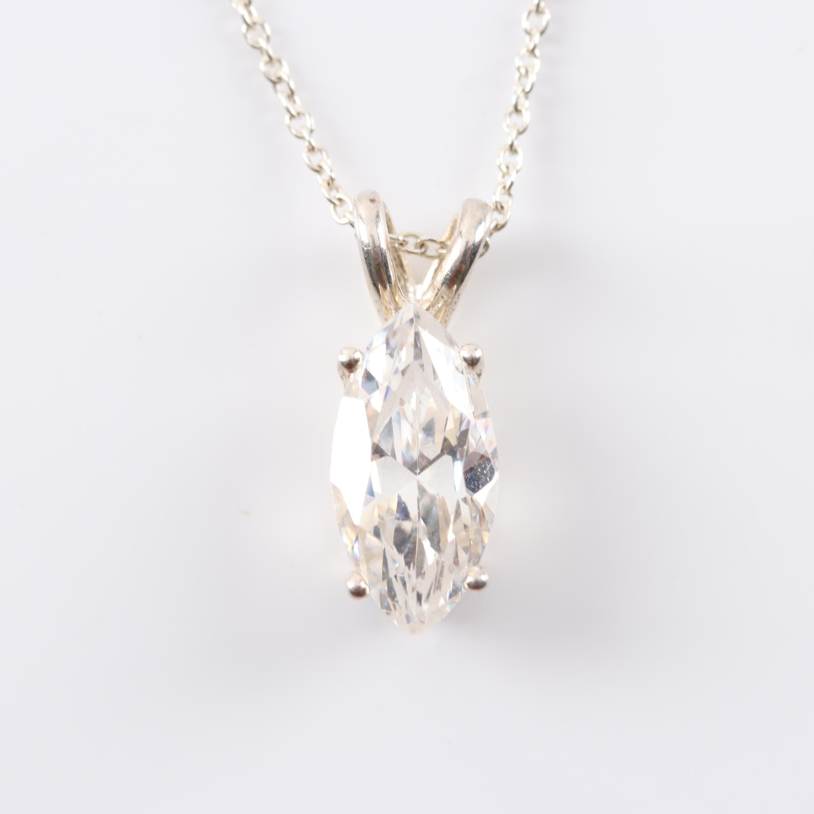 Italian Sterling Silver Marquise Cubic Zirconia Pendant Necklace