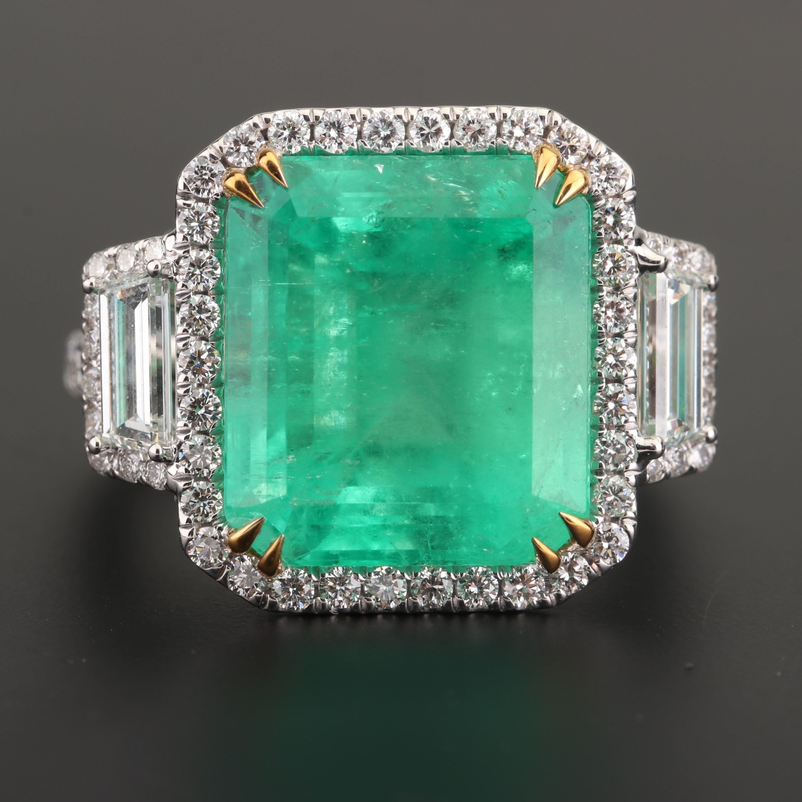18K White Gold 10.00 CT Colombian Emerald and 1.63 CTW Diamond Ring with AGL