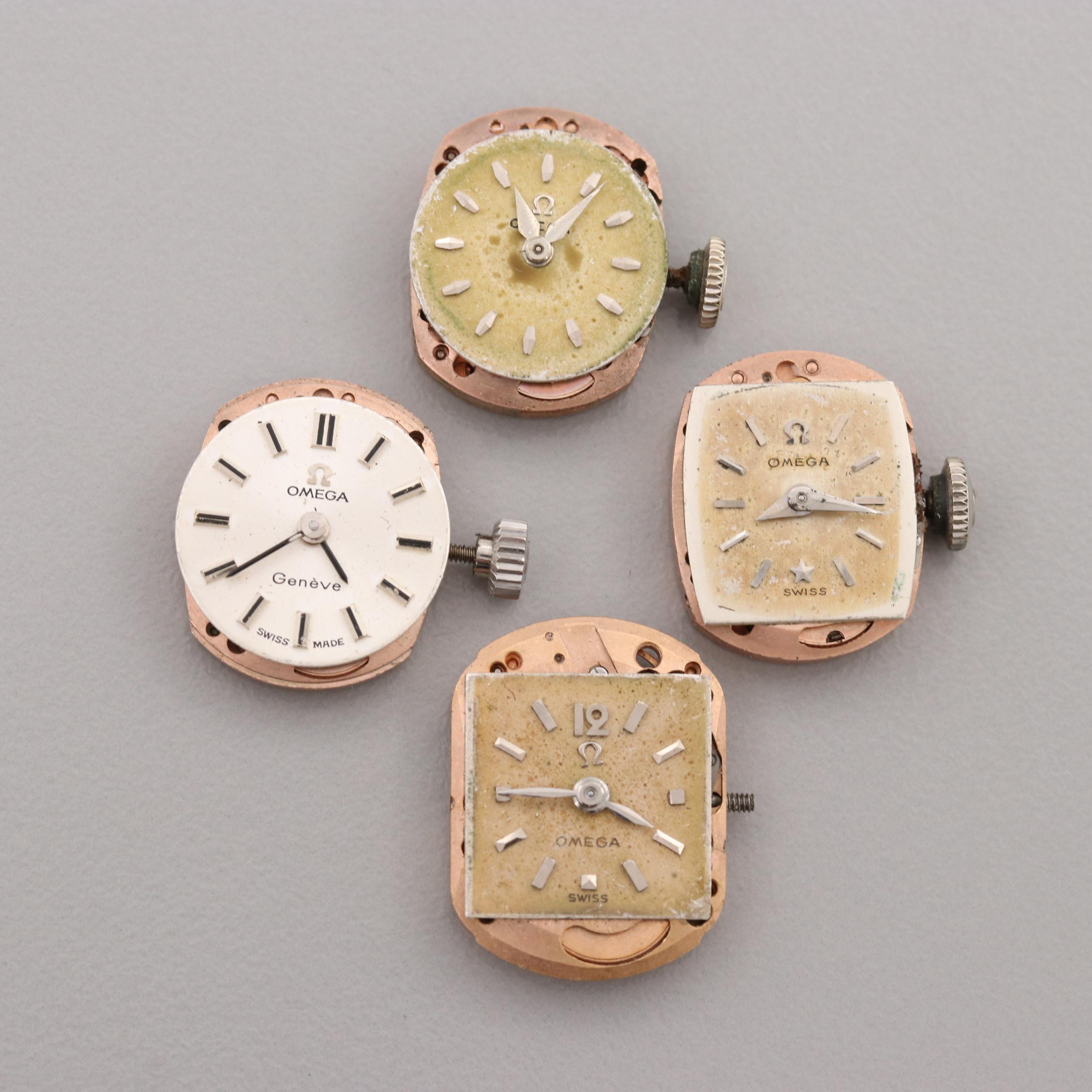 Four Vintage Omega Stem Wind Movements and Dials
