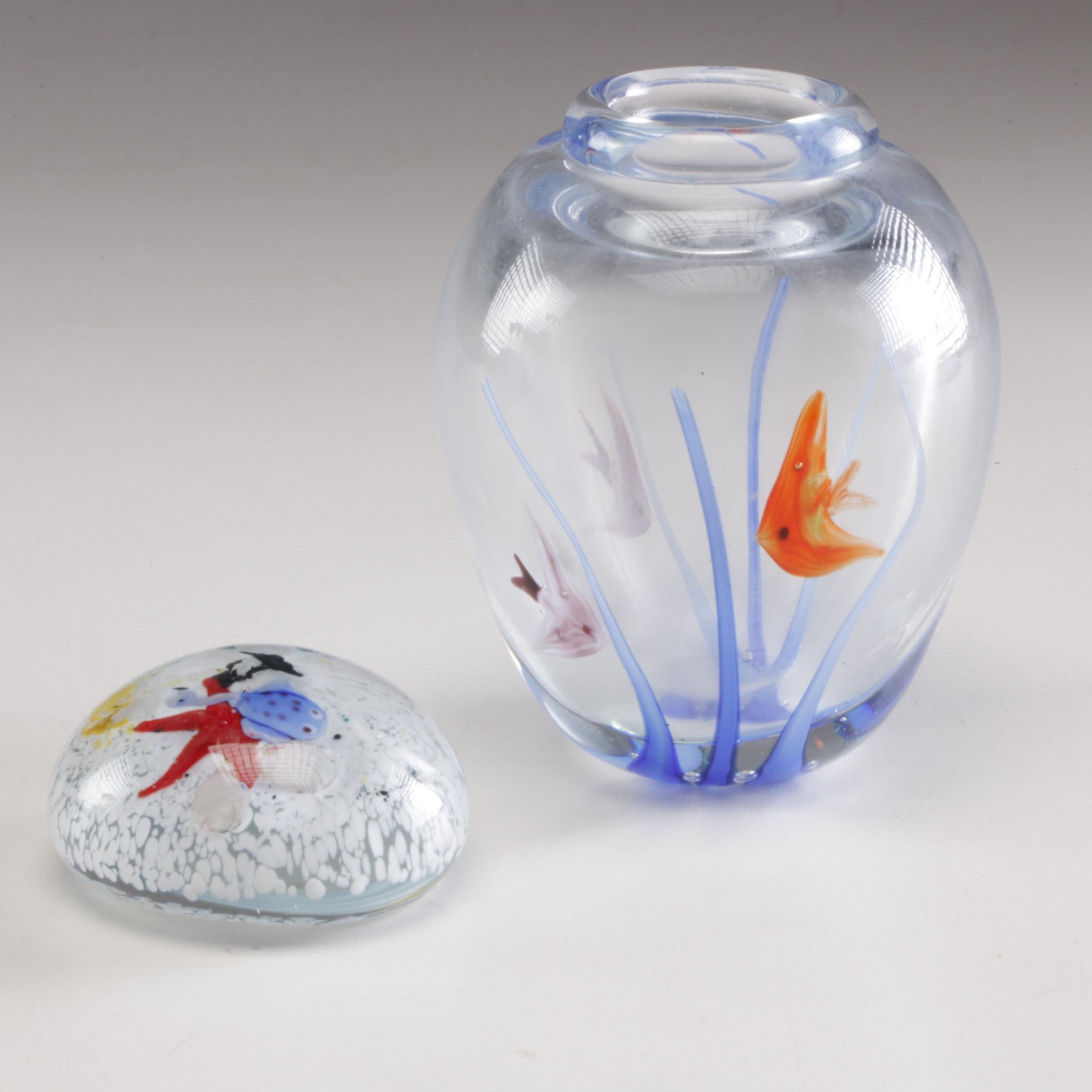 Blown Glass Vase and Paperweight