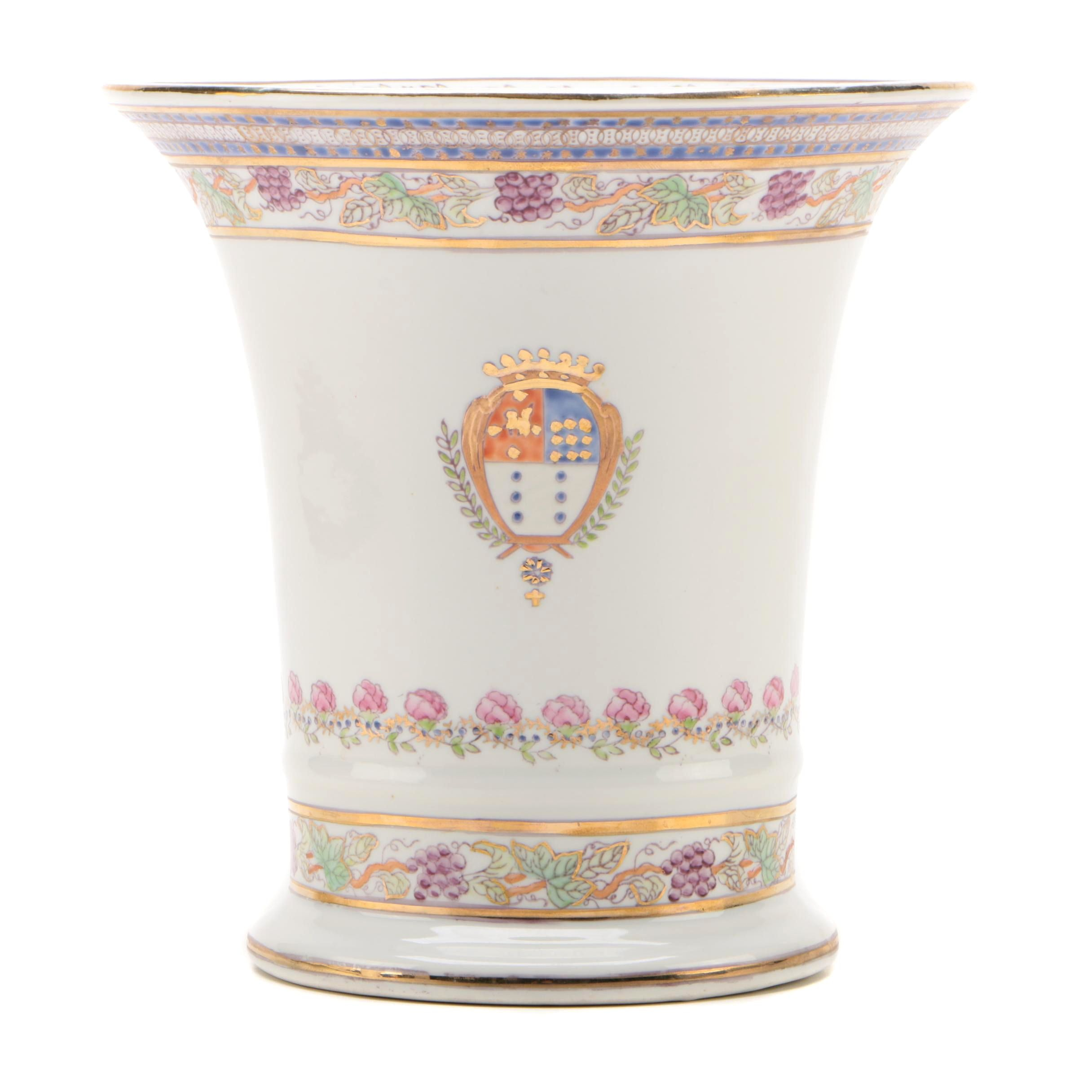 Chinese Armorial Export Porcelain Vase, Late 20th Century
