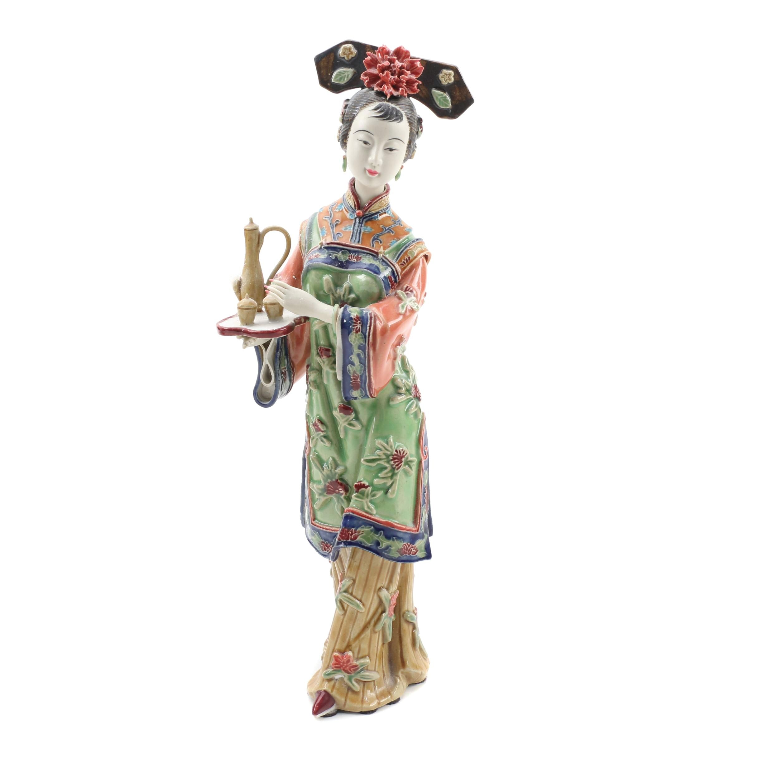 Chinese Shiwan Ware Lady Figurine Holding Tea Tray by Lin Wei Dong