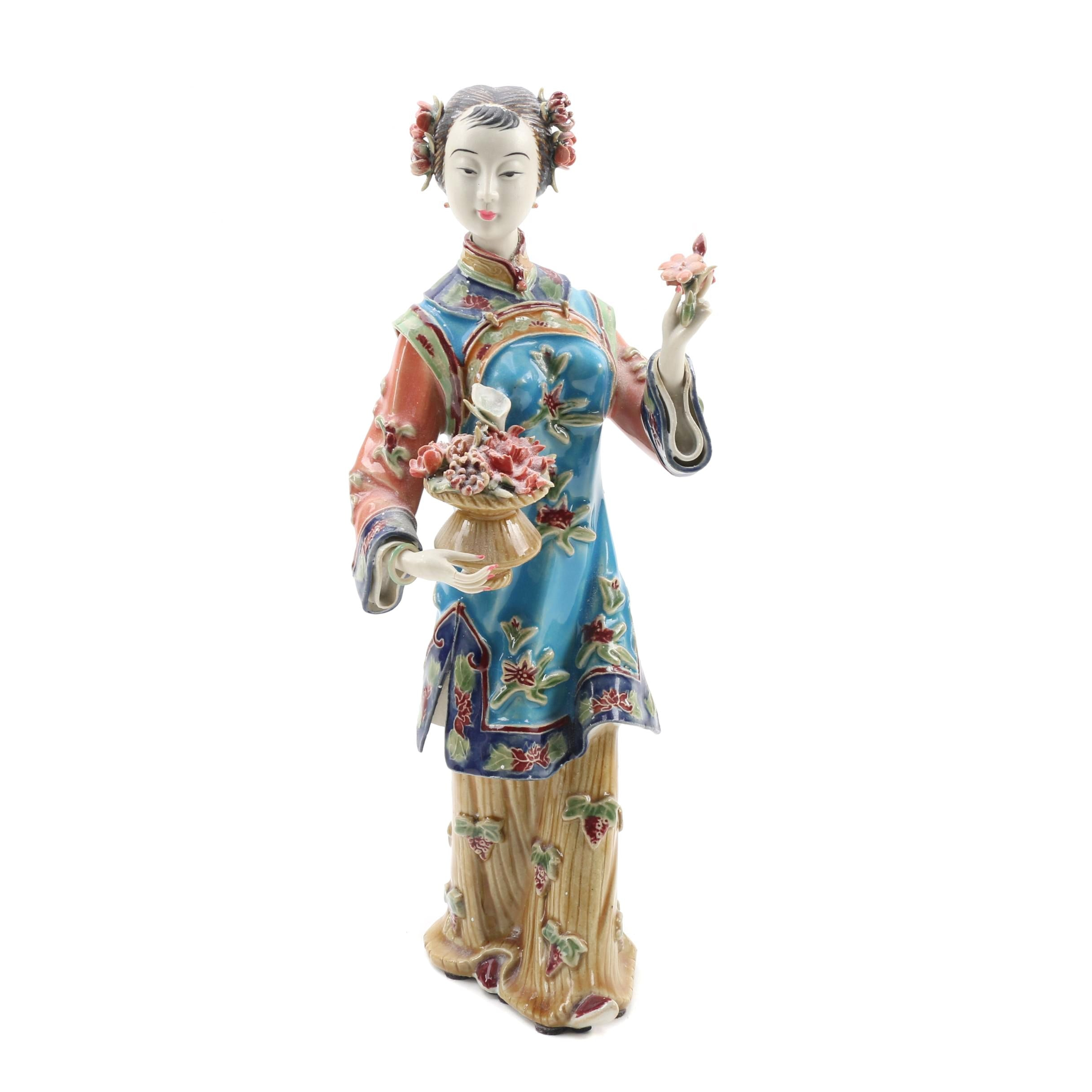 Chinese Shiwan Ware Lady Figurine Holding Flowers by Lin Wei Dong