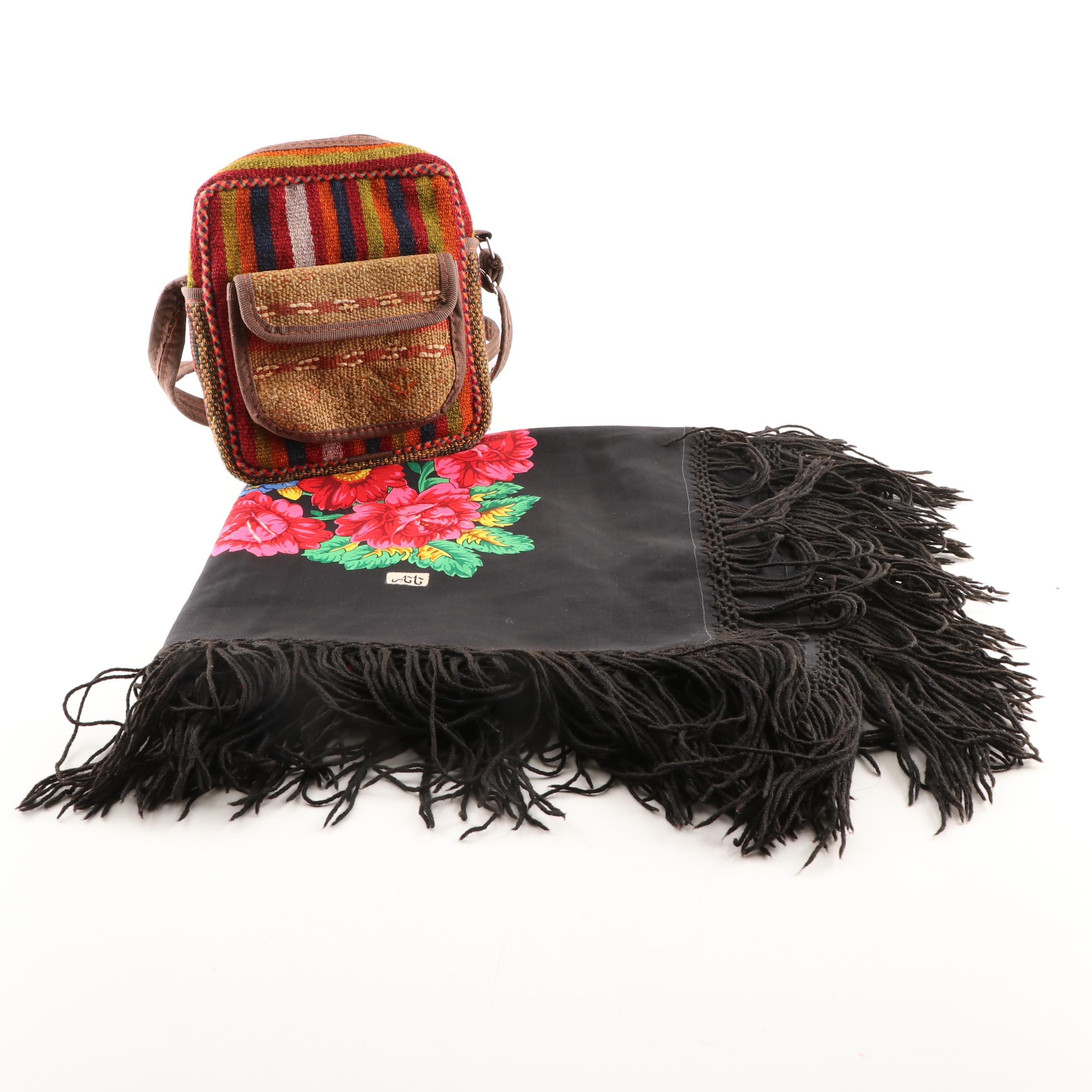 Patchwork Shoulder Bag and Floral Shawl