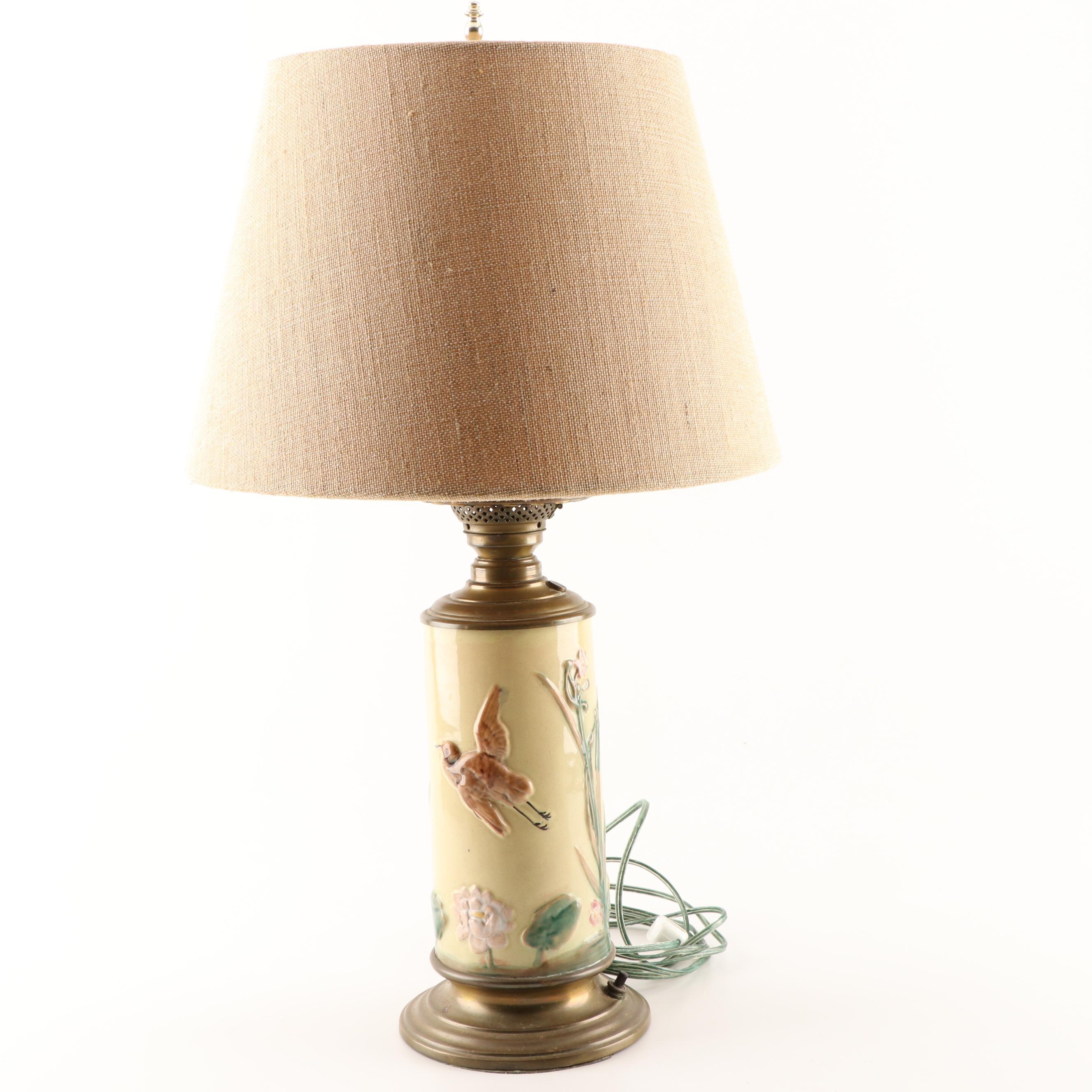Majolica Table Lamp, circa 1950