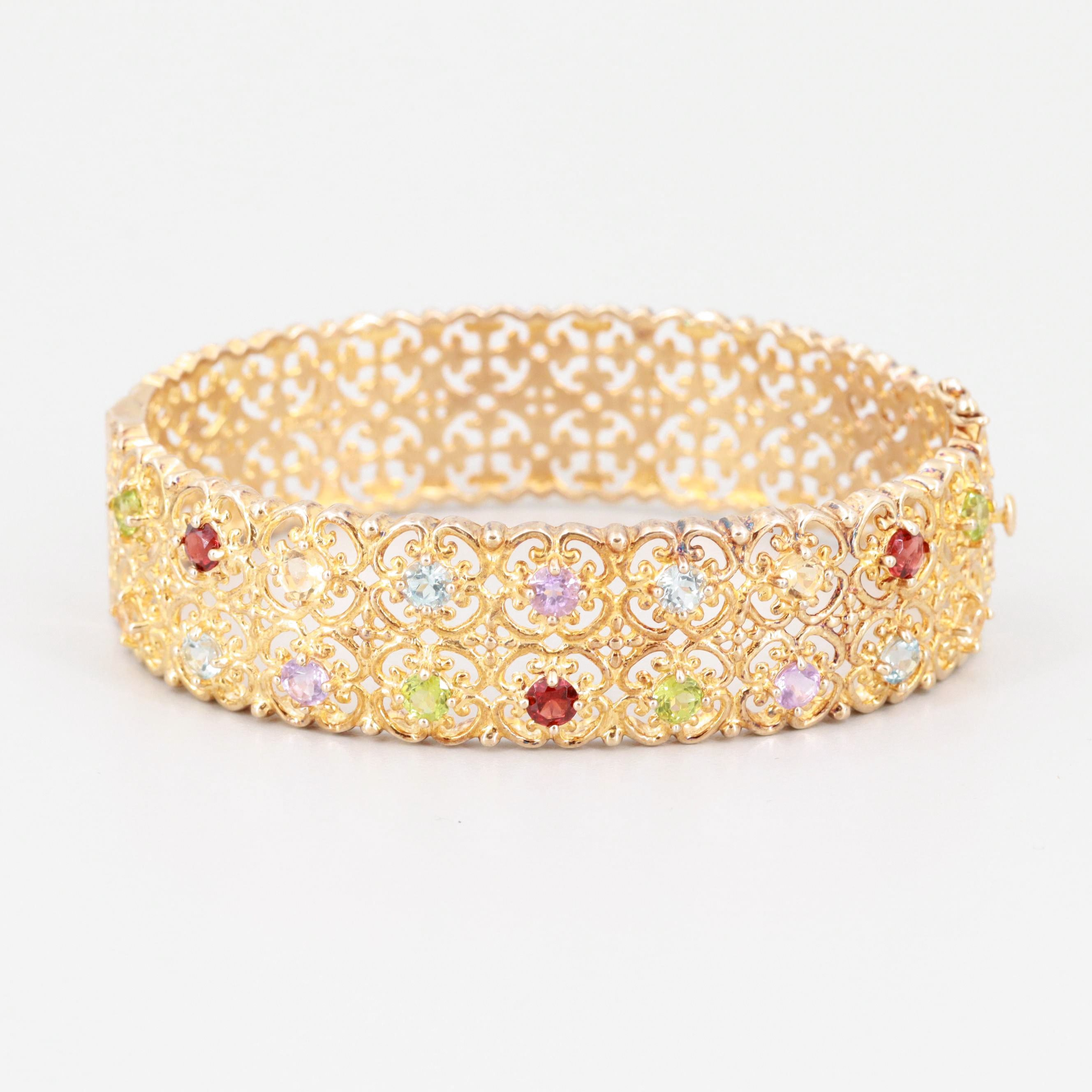 Gold Wash on Sterling Silver Garnet, Peridot and Citrine Hinged Bangle Bracelet