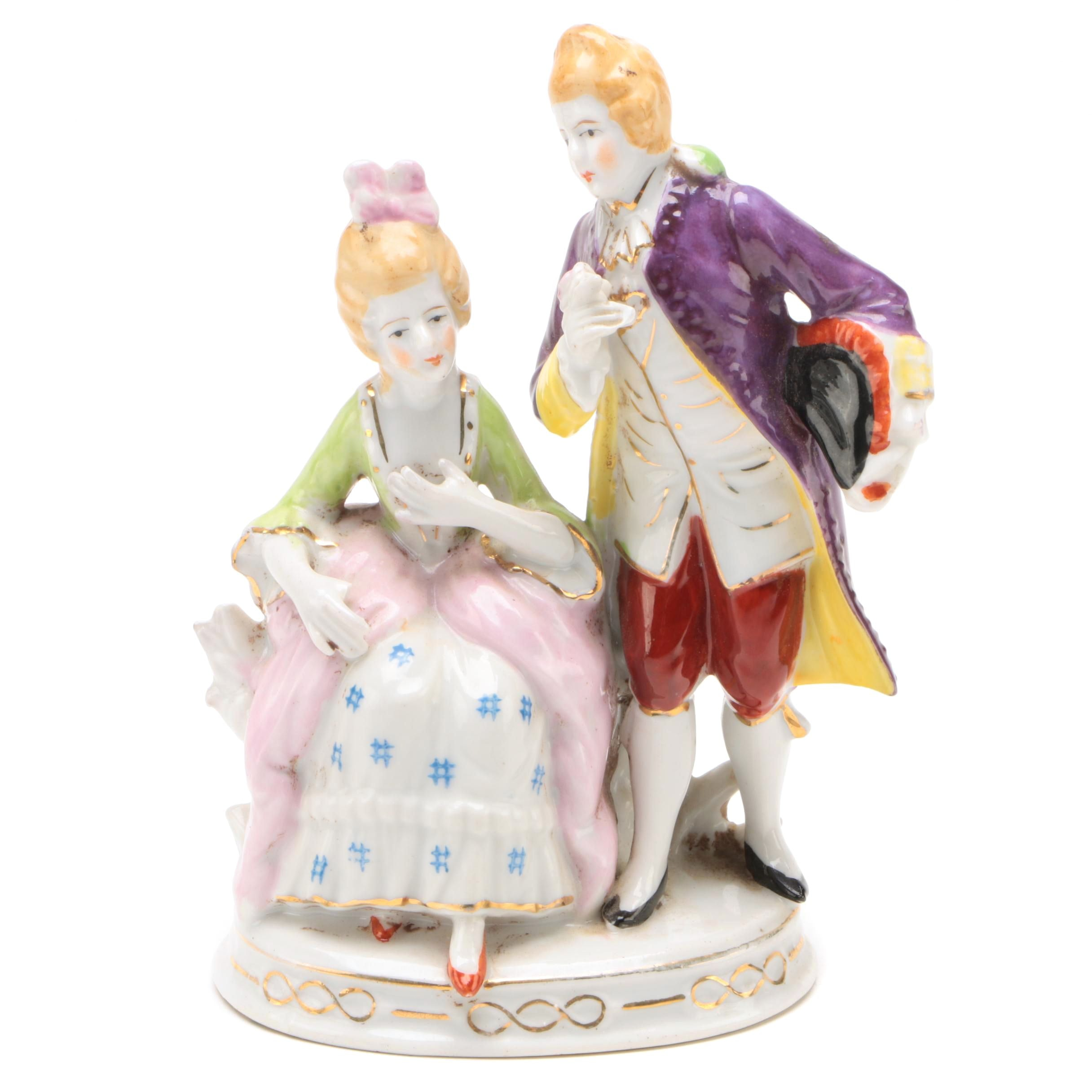Japanese Dresden Style Porcelain Courting Couple Figurine, Mid-Century